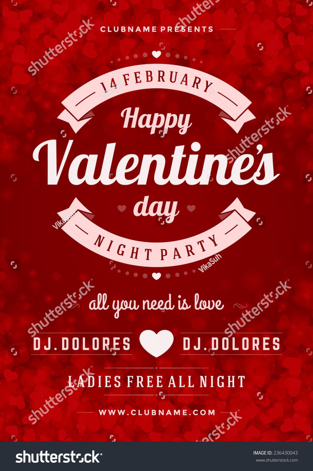 Happy Valentines Day Party Poster Design Stock-vektorgrafik ...