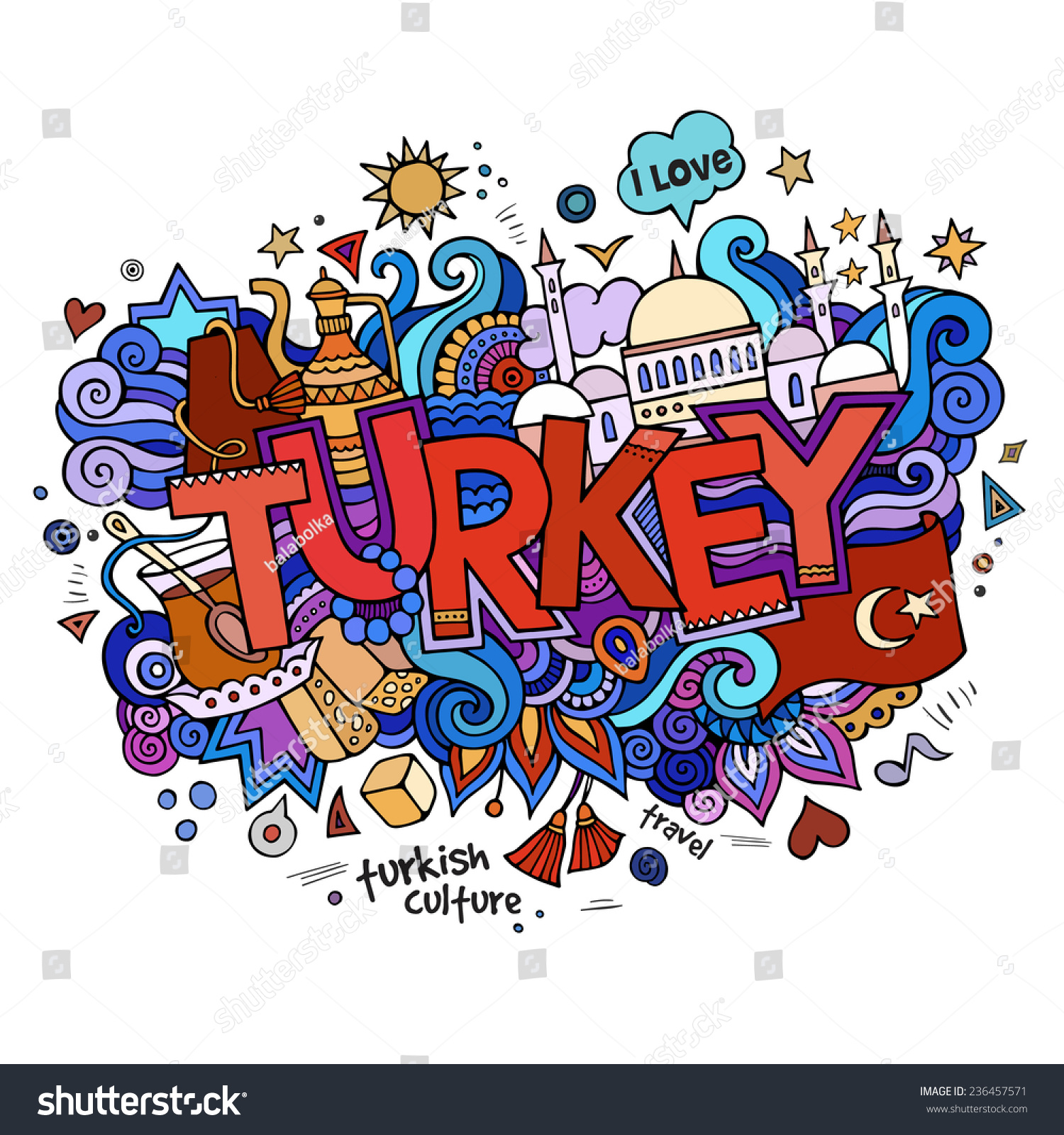Stock vector music hand lettering and doodles elements - Turkey Hand Lettering And Doodles Elements Background Vector Illustration