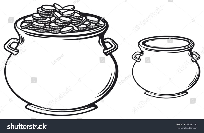 pot gold coins stock vector 236460100 shutterstock
