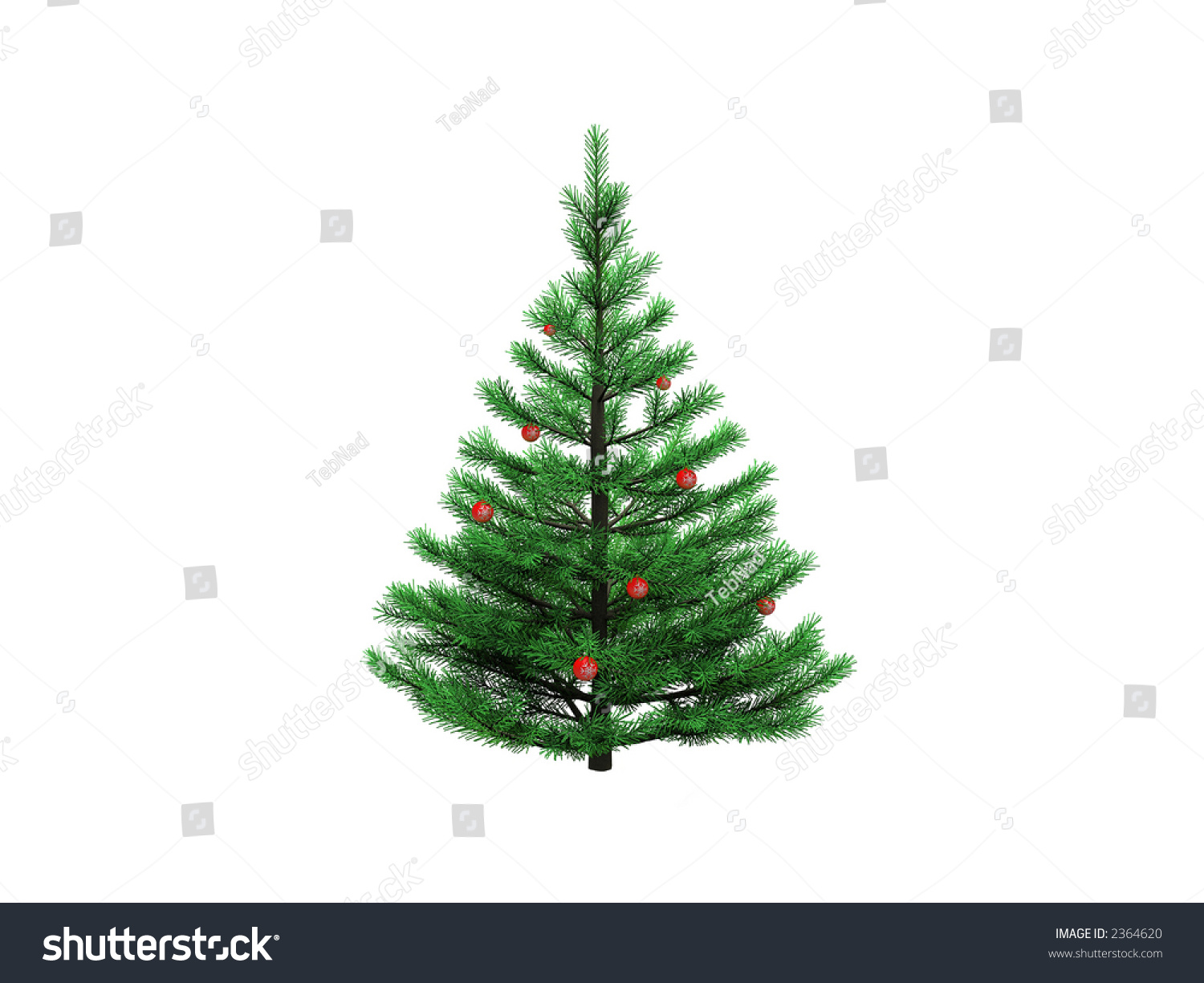 Christmas tree over white with red balls stock photo