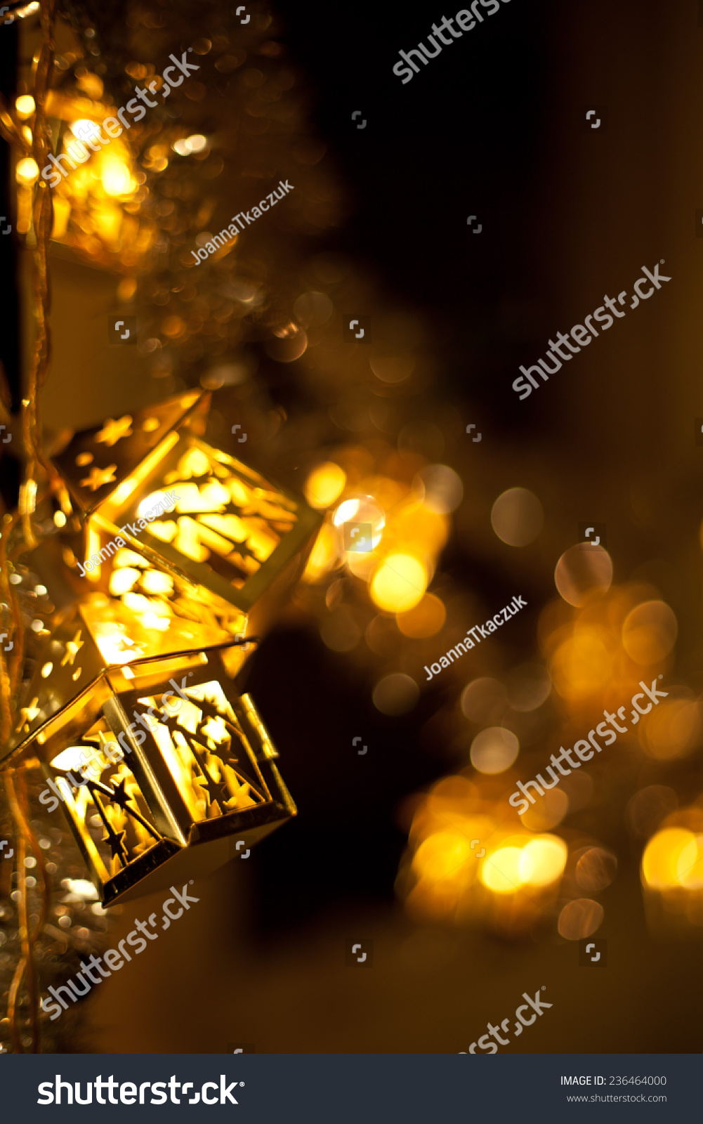Christmas Decoration Hanging Lanterns Holly Twigs Stock Photo Edit Now 236464000
