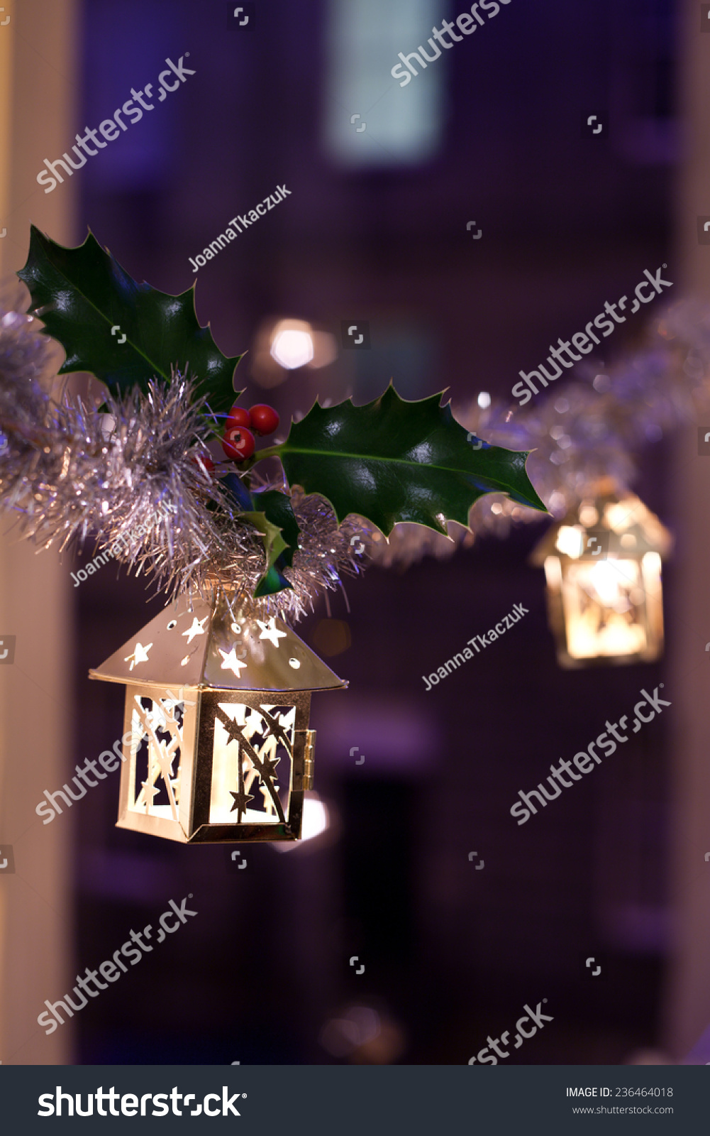 Christmas Decoration Hanging Lanterns Holly Twigs Stock Photo Edit Now 236464018