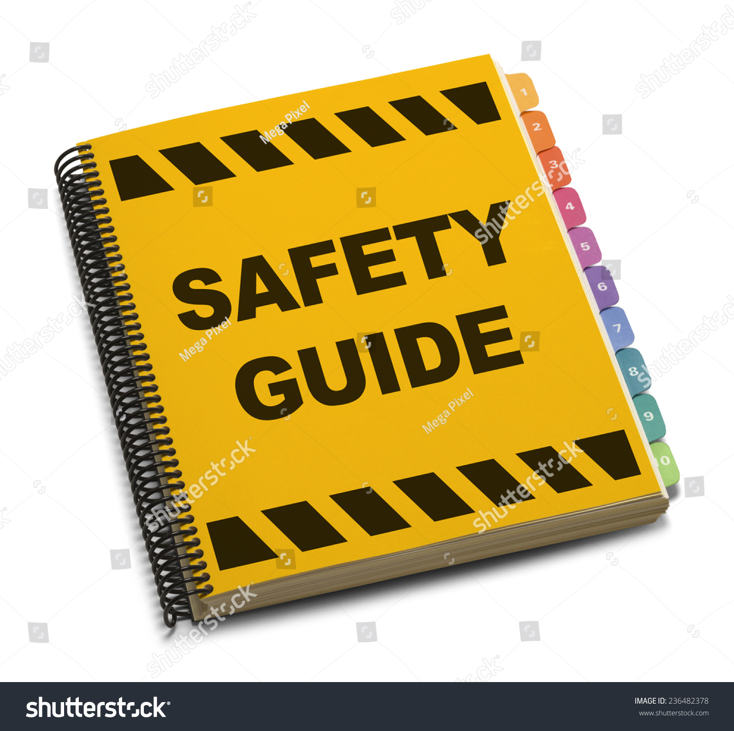 Guide Book: Yellow Spiral Safety Guide Book Isolated On White