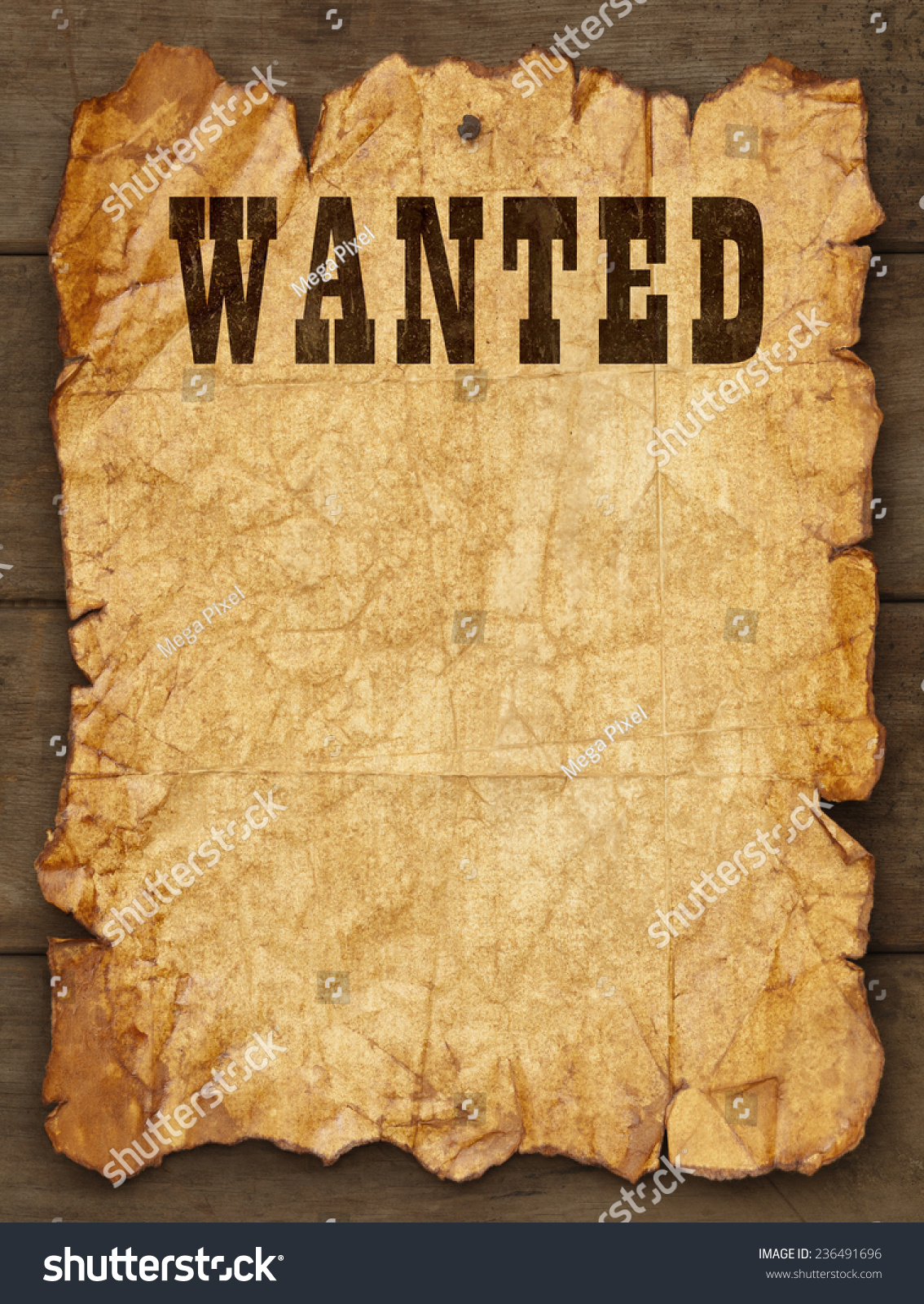 Royaltyfree Wanted Poster Tacked on Wood Boards 236491696 – Old Fashioned Wanted Poster