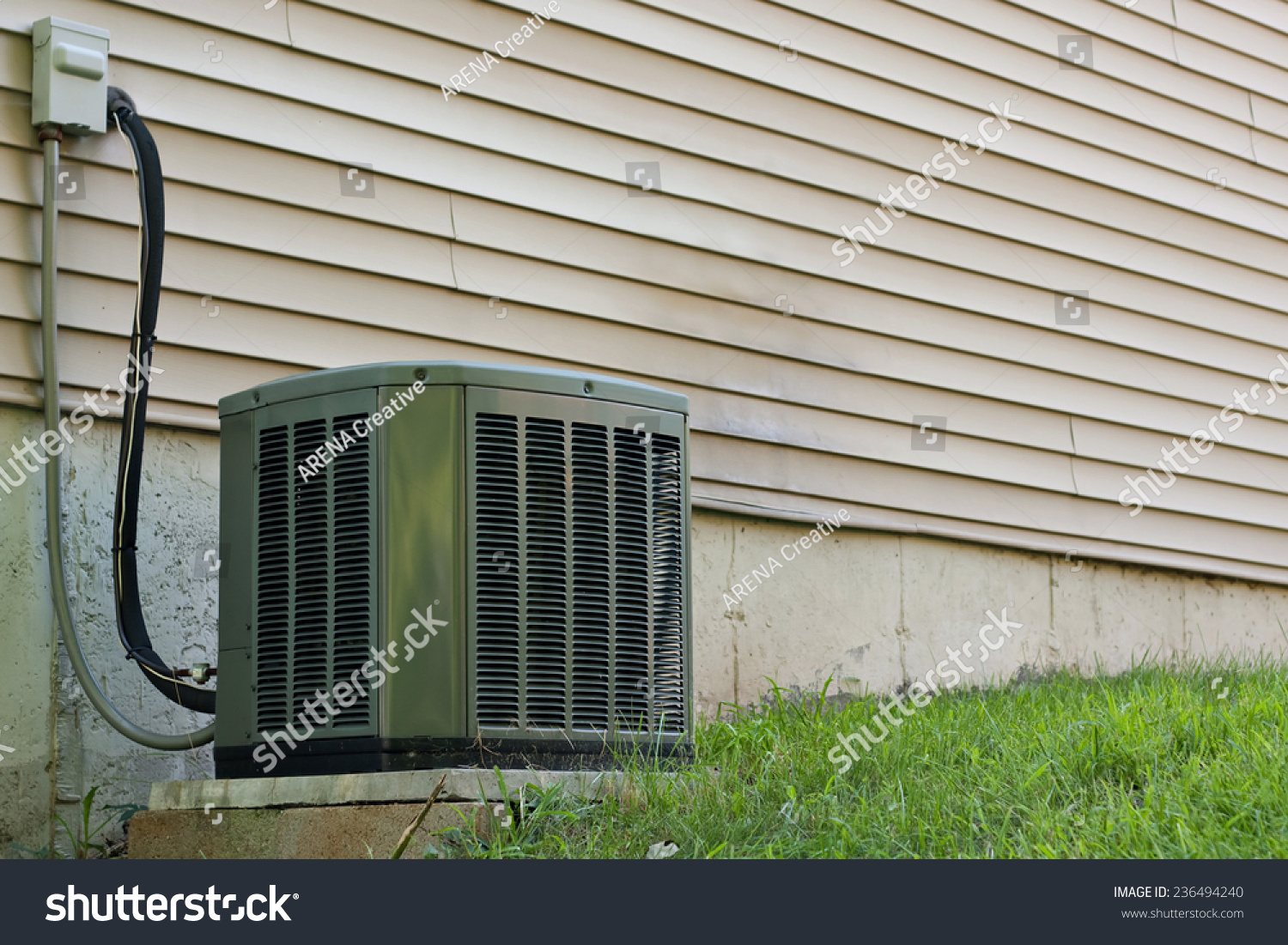 Residential Central Air Conditioning Unit Sitting Stock
