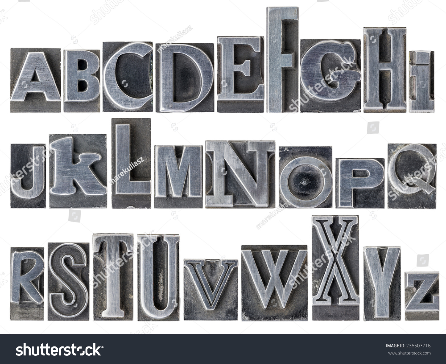 english alphabet a collage of 26 isolated letters in letterpress metal type printing blocks
