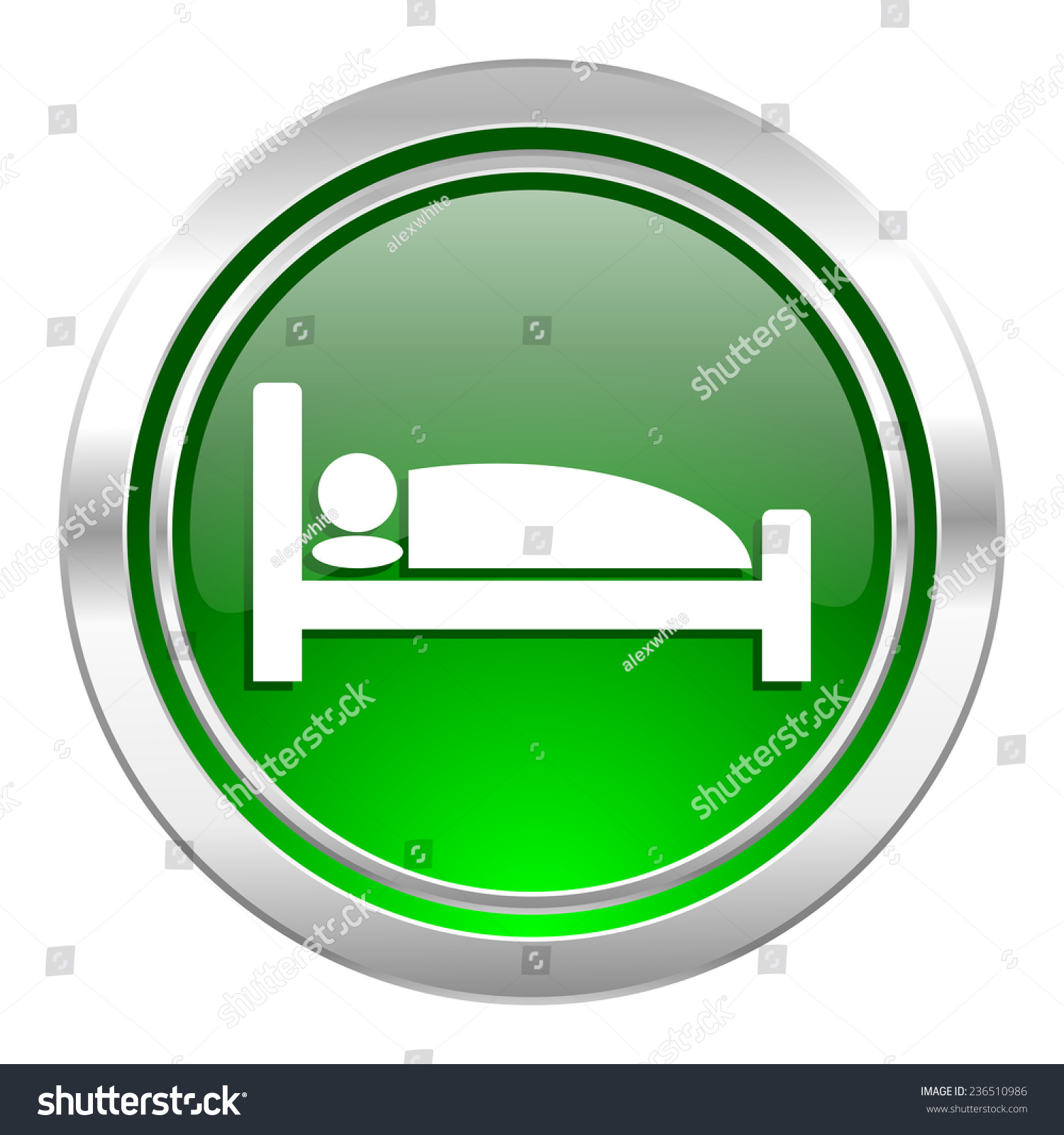 Hotel icon green button bed sign stock illustration - Green button ...