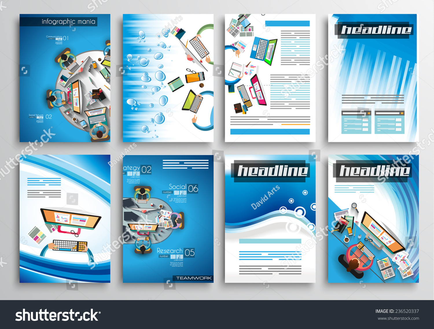 Set flyer design web templates brochure stock vector for Technology brochure templates
