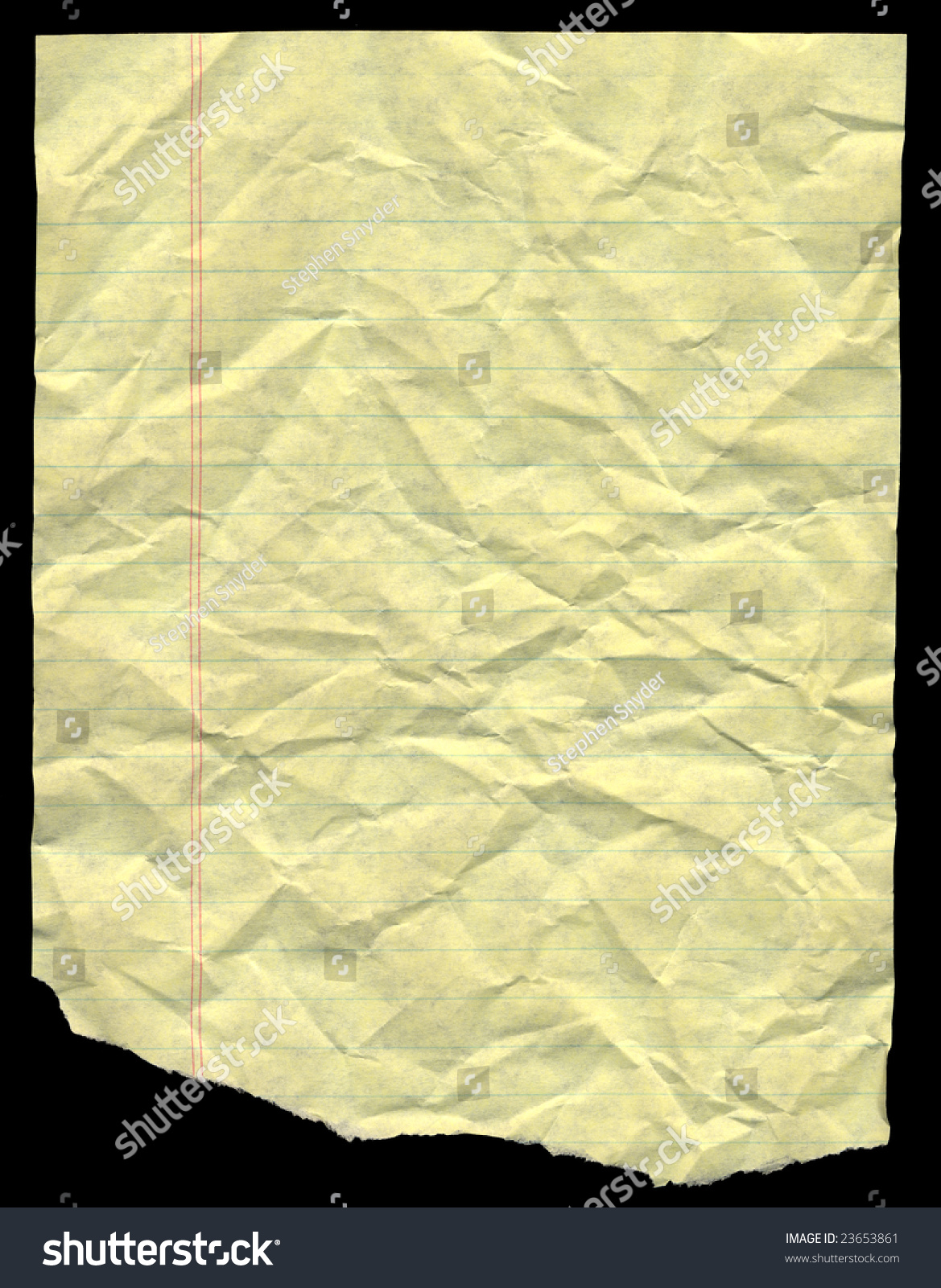 Crumpled Yellow Lined Paper For Background Stock Photo ...
