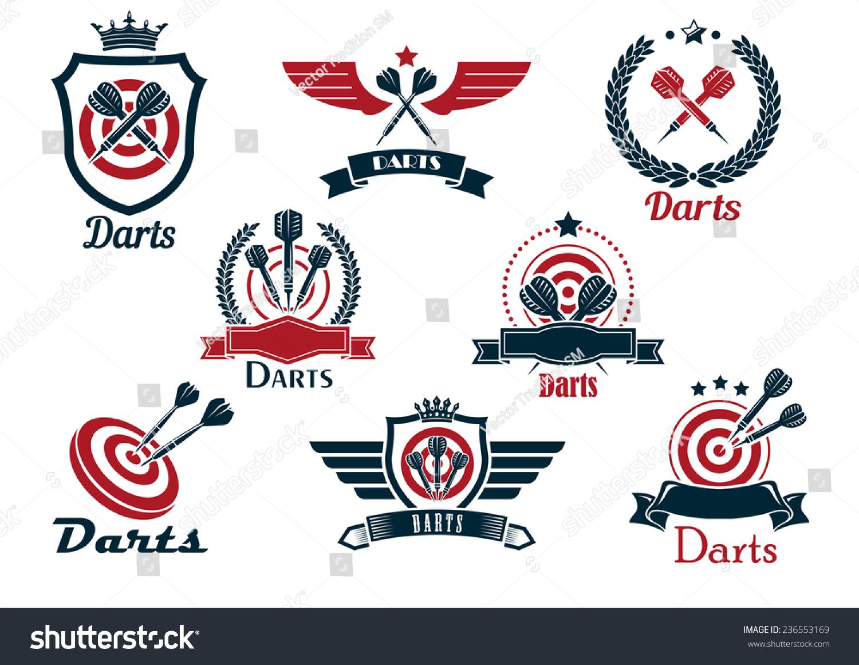 Darts Heraldic Sports Emblems Symbols Crossed Stock Vector Royalty