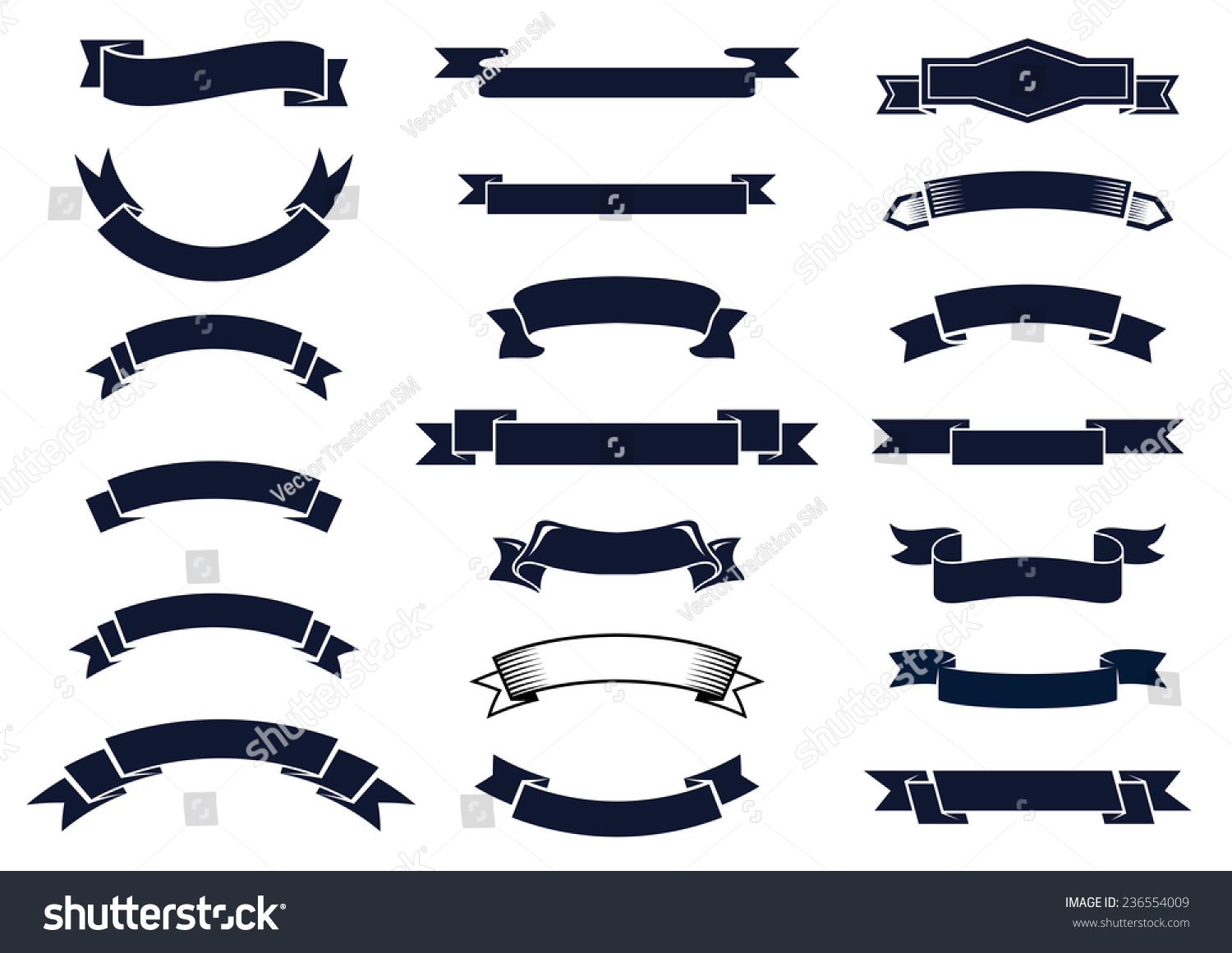 Large Set Blank Classic Vintage Ribbon Stock Vector ...