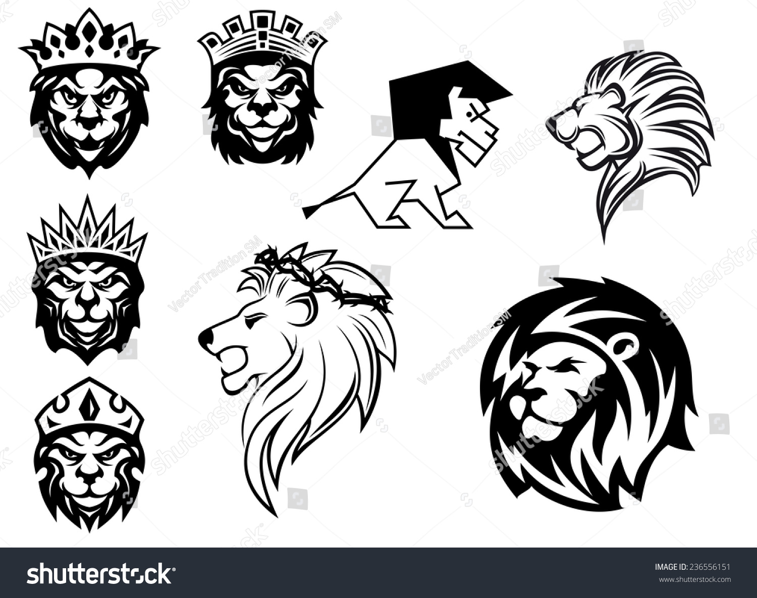 How to breed heraldic dragon - Black And White Heraldic Lions Heads For Emblem Heraldry And Animal King Concept Design