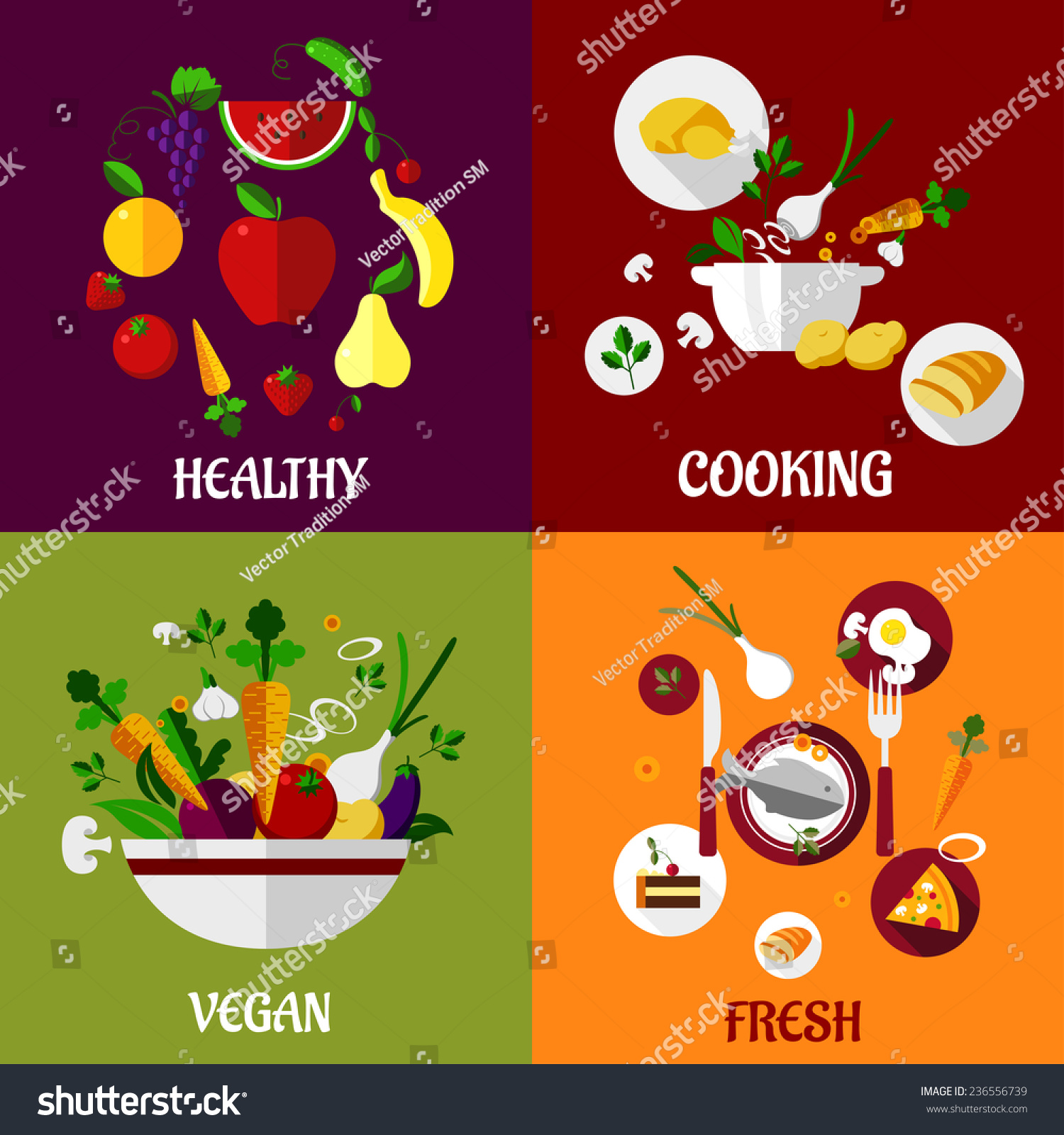 Colored Fresh Healthy Food Flat Design Stock Vector 236556739 ...