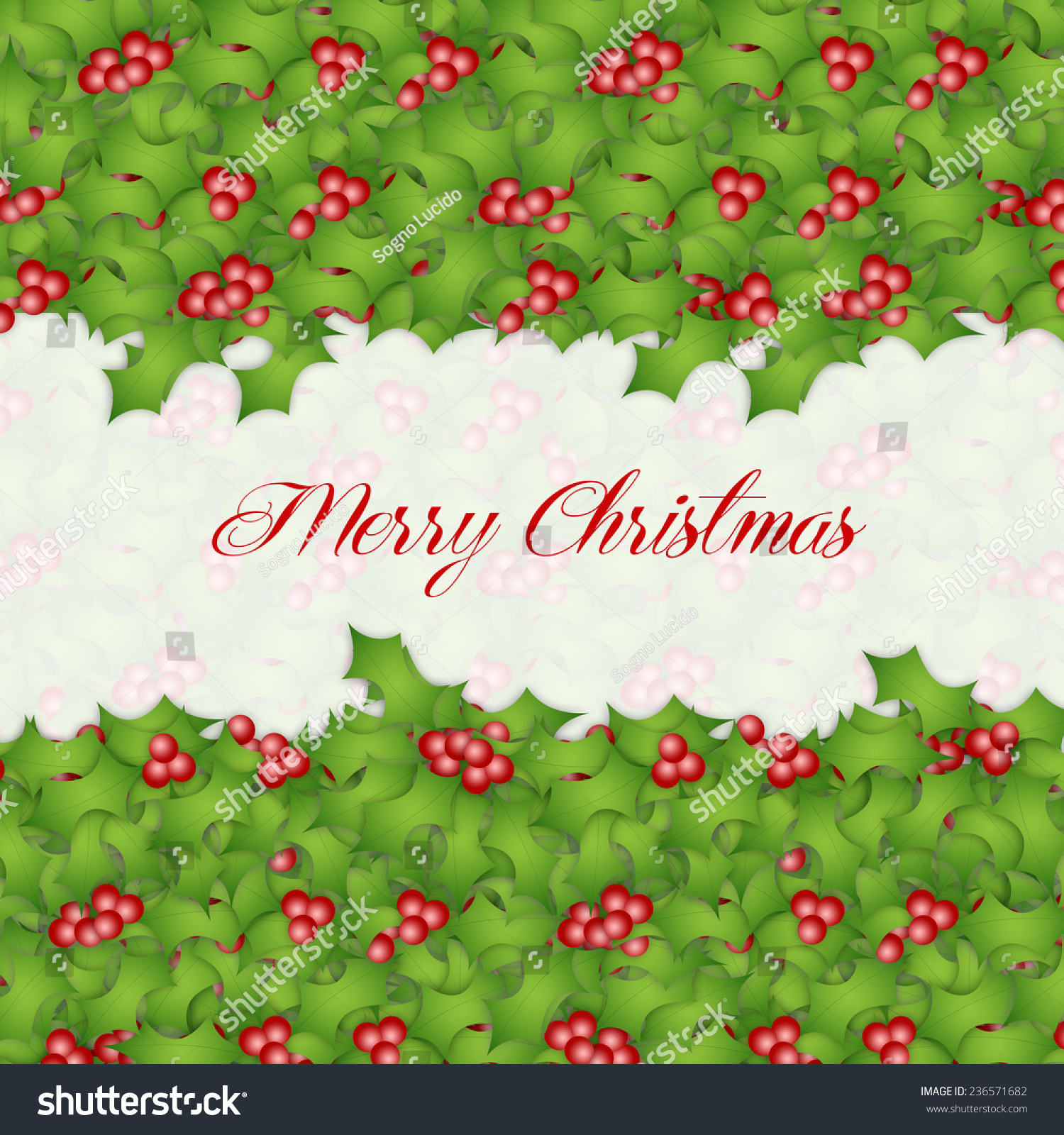 Holly Decorations For Christmas Stock Photo 236571682