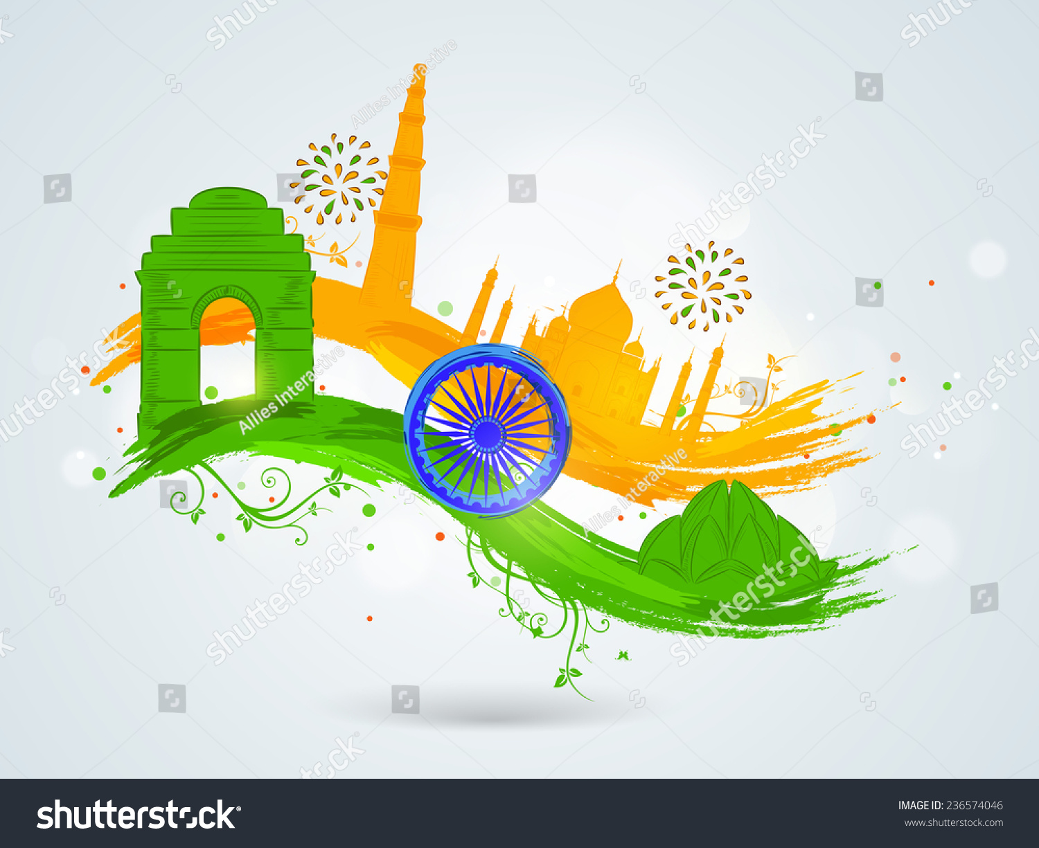 Colors website ashoka - Famous Indian Monuments With Ashoka Wheel On Floral Decorated Paint Stroke In National Flag Colors For