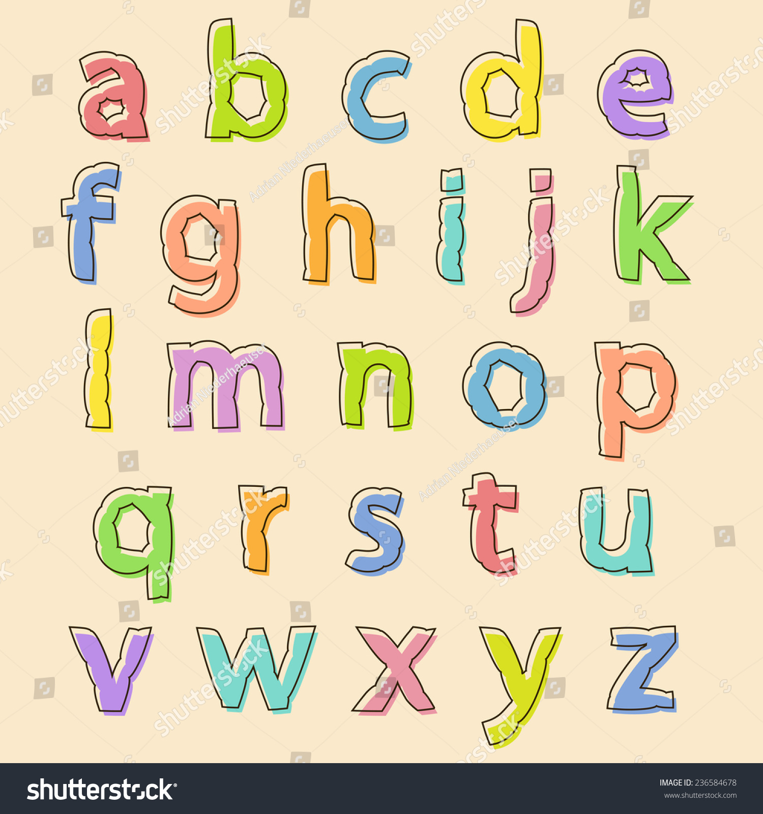 Complete Vector Set Colored Lowercase Alphabet Stock Vector Royalty