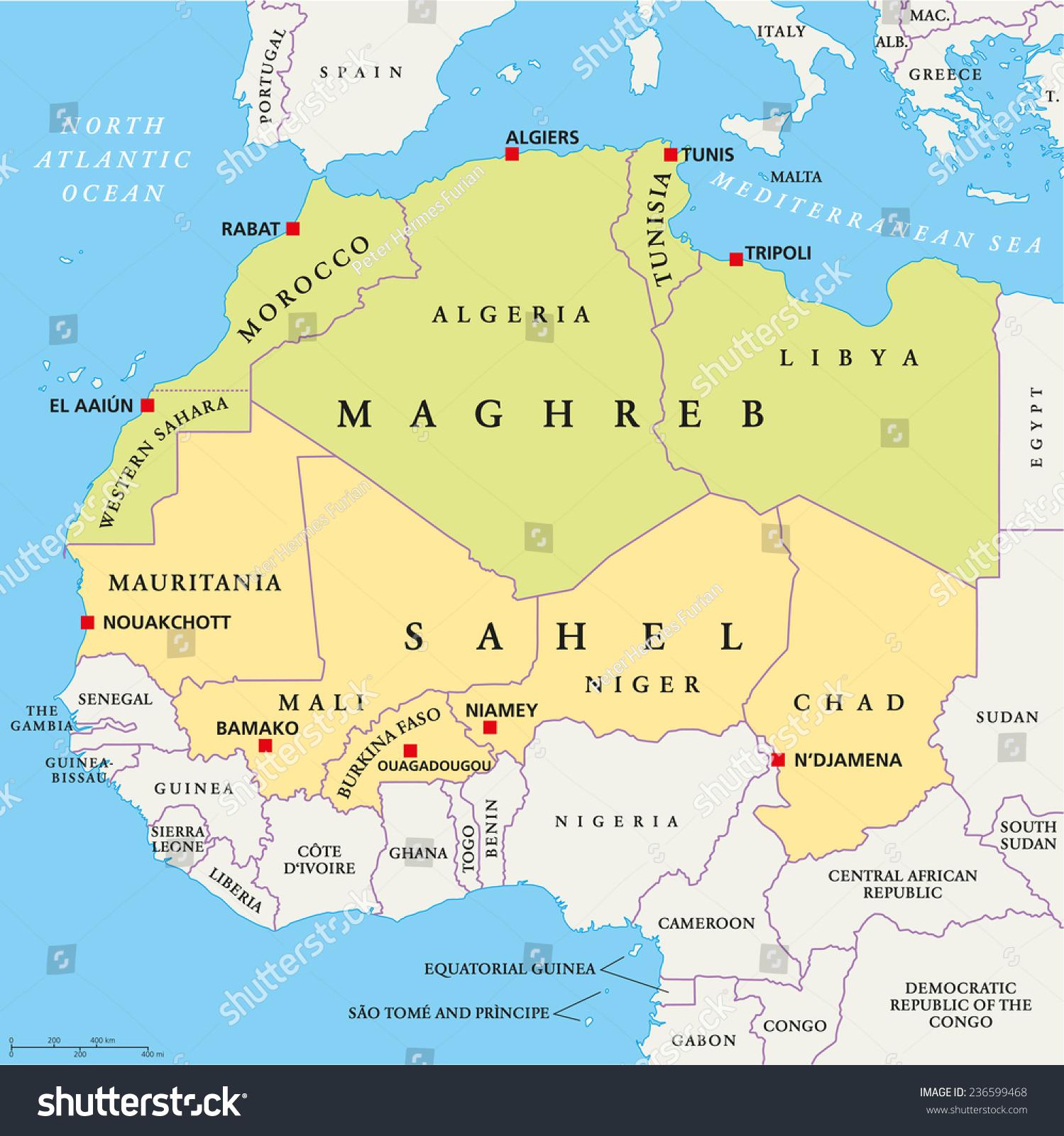 Maghreb Sahel Political Map Capitals National Stock Vector - English world political map