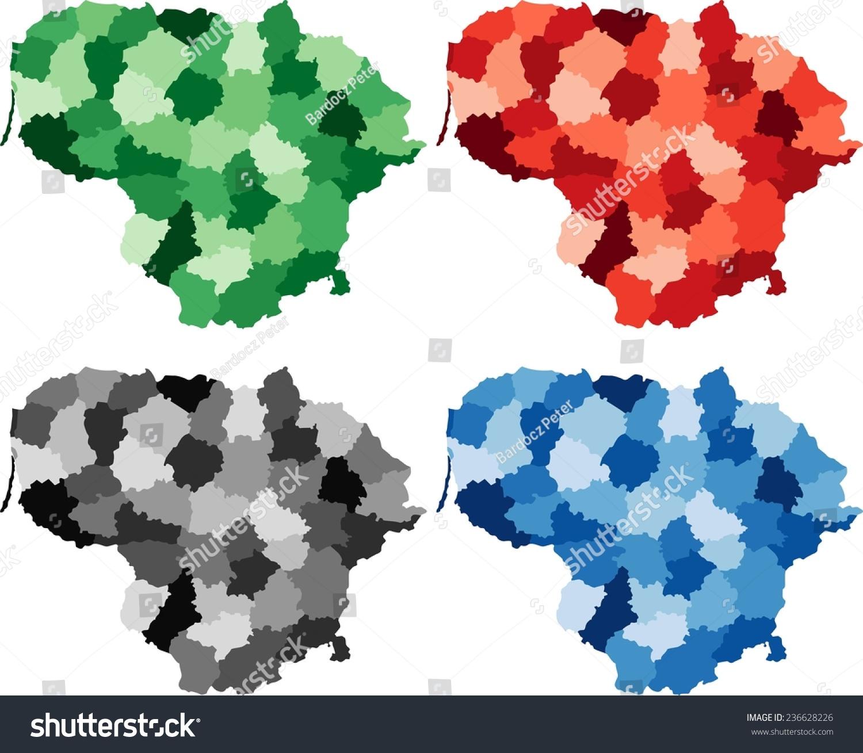 Lithuania Map Vector Detailed Color Kancamagus Highway Map - Lithuania map vector
