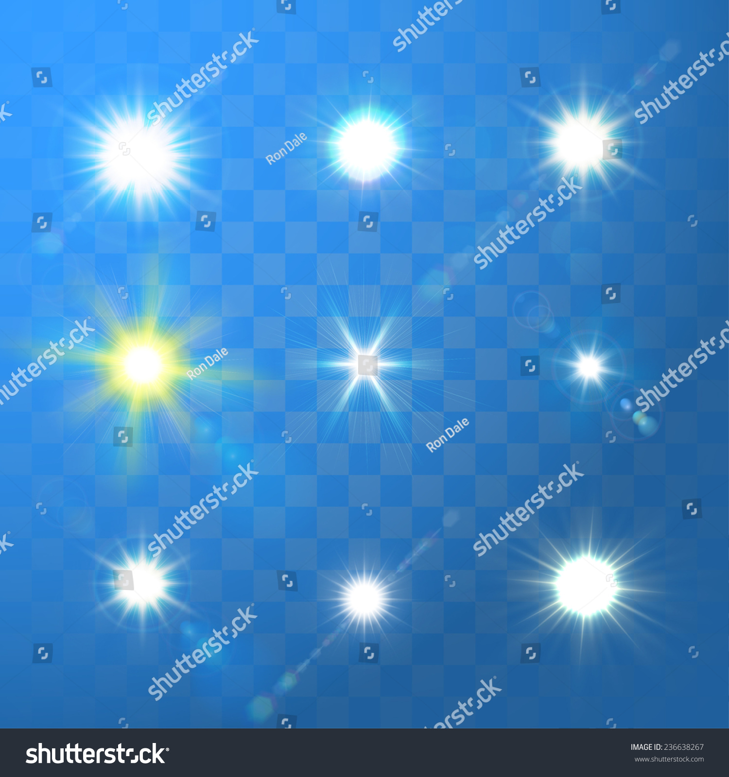 Set Vector Glowing Sun Light Effect Stock Vector 236638267 ... for Sun Light Effect Background  45hul