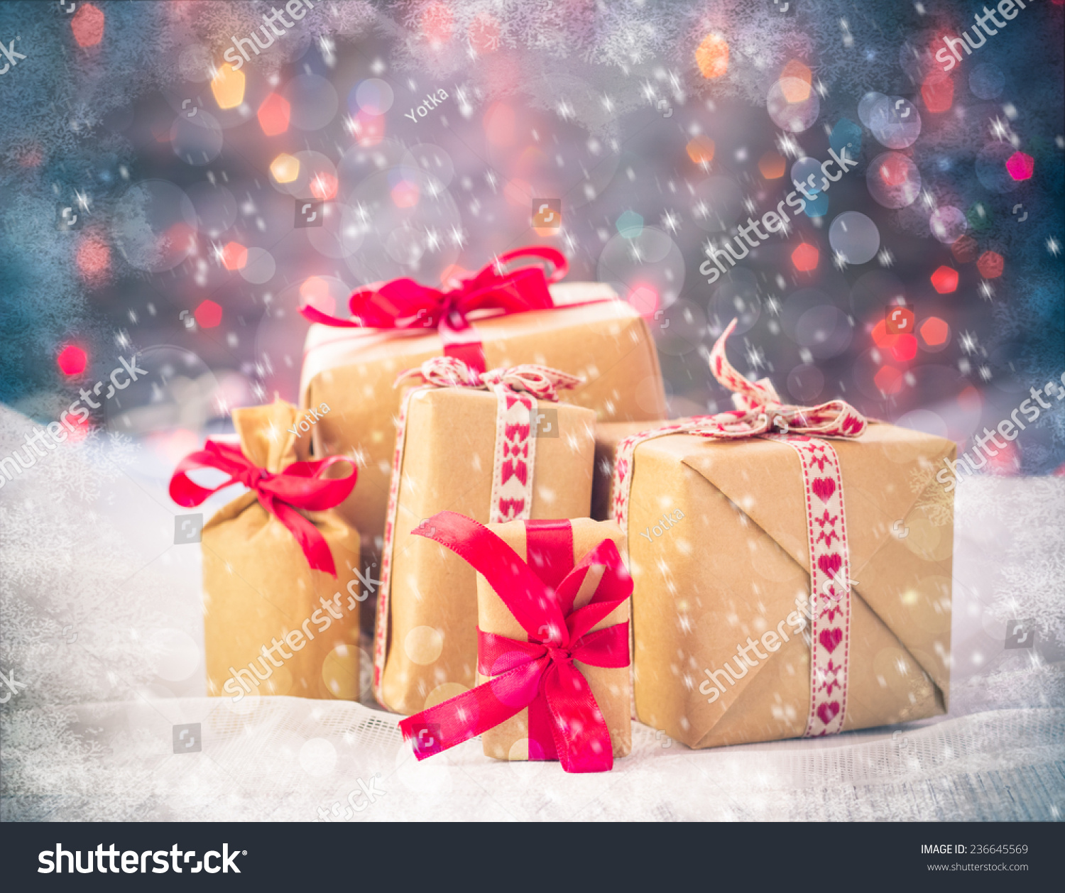 Presents Under The Christmas Tree: Packets Of Presents Under The Christmas Tree On The