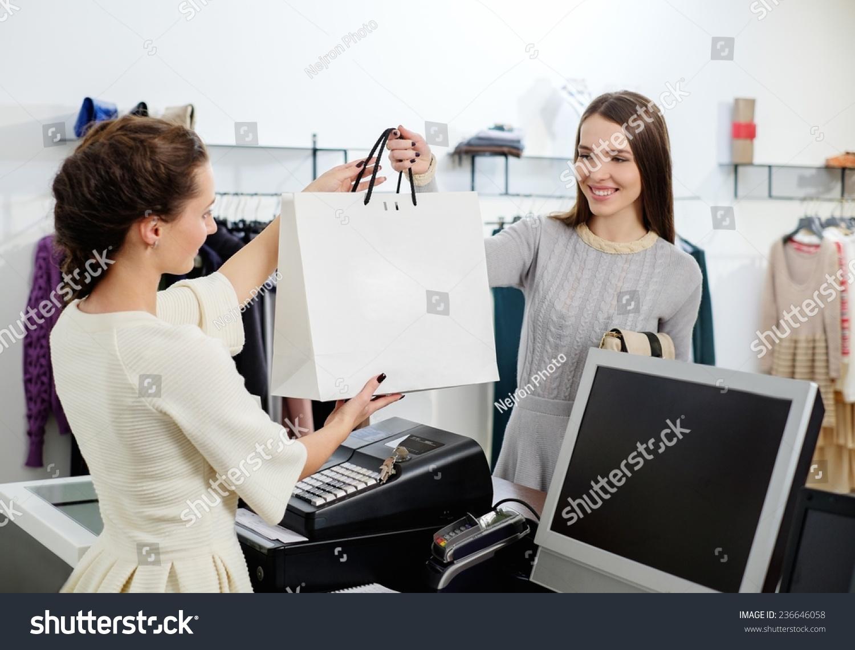 Happy Customer Shopping Bag Fashion Showroom Stock Photo 236646058 ...