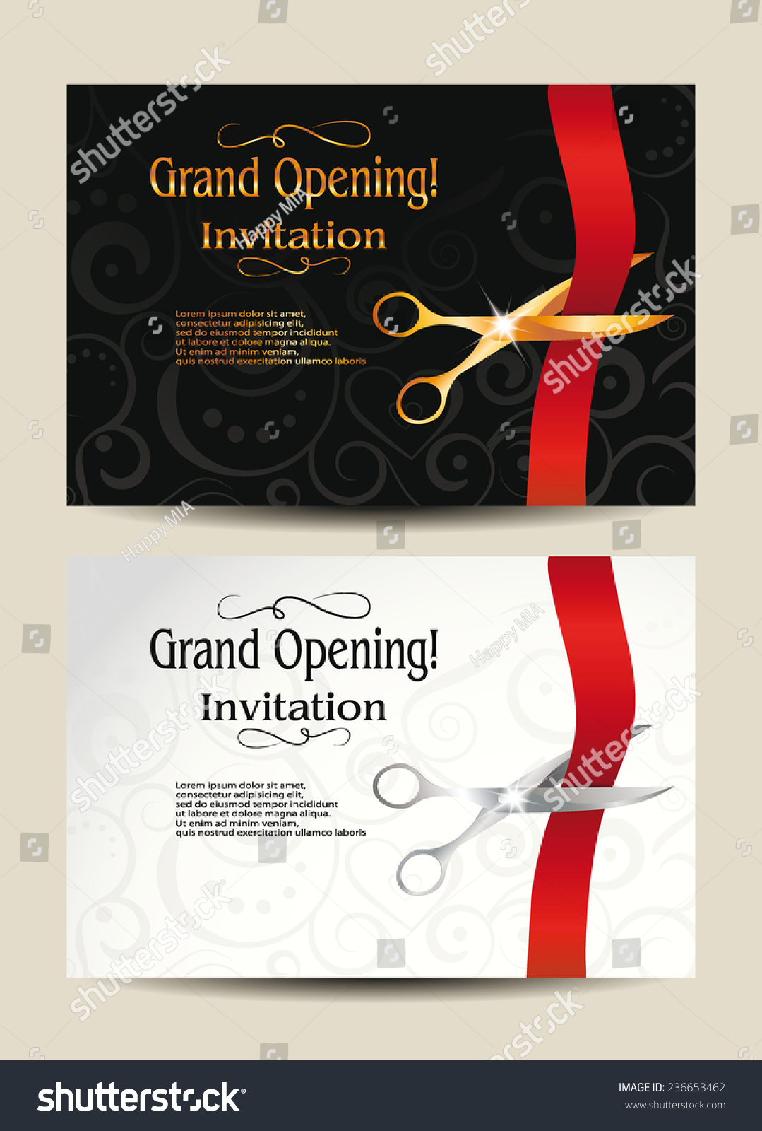 Grand Opening Invitation Cards Vector 236653462 Shutterstock – Inauguration Invitation Card Sample