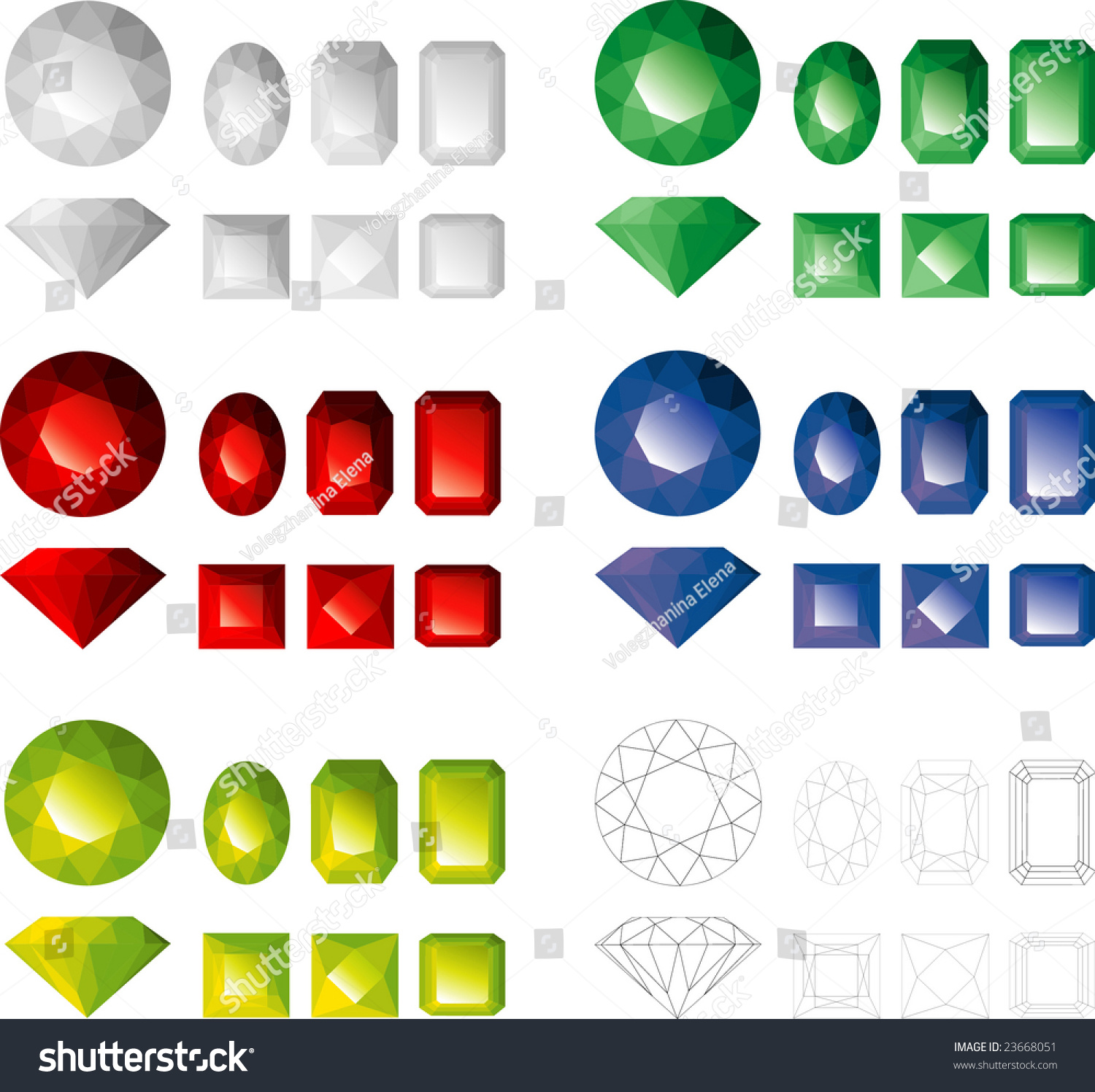 Gems Different Colors Facet Types Stock Vector 23668051 - Shutterstock