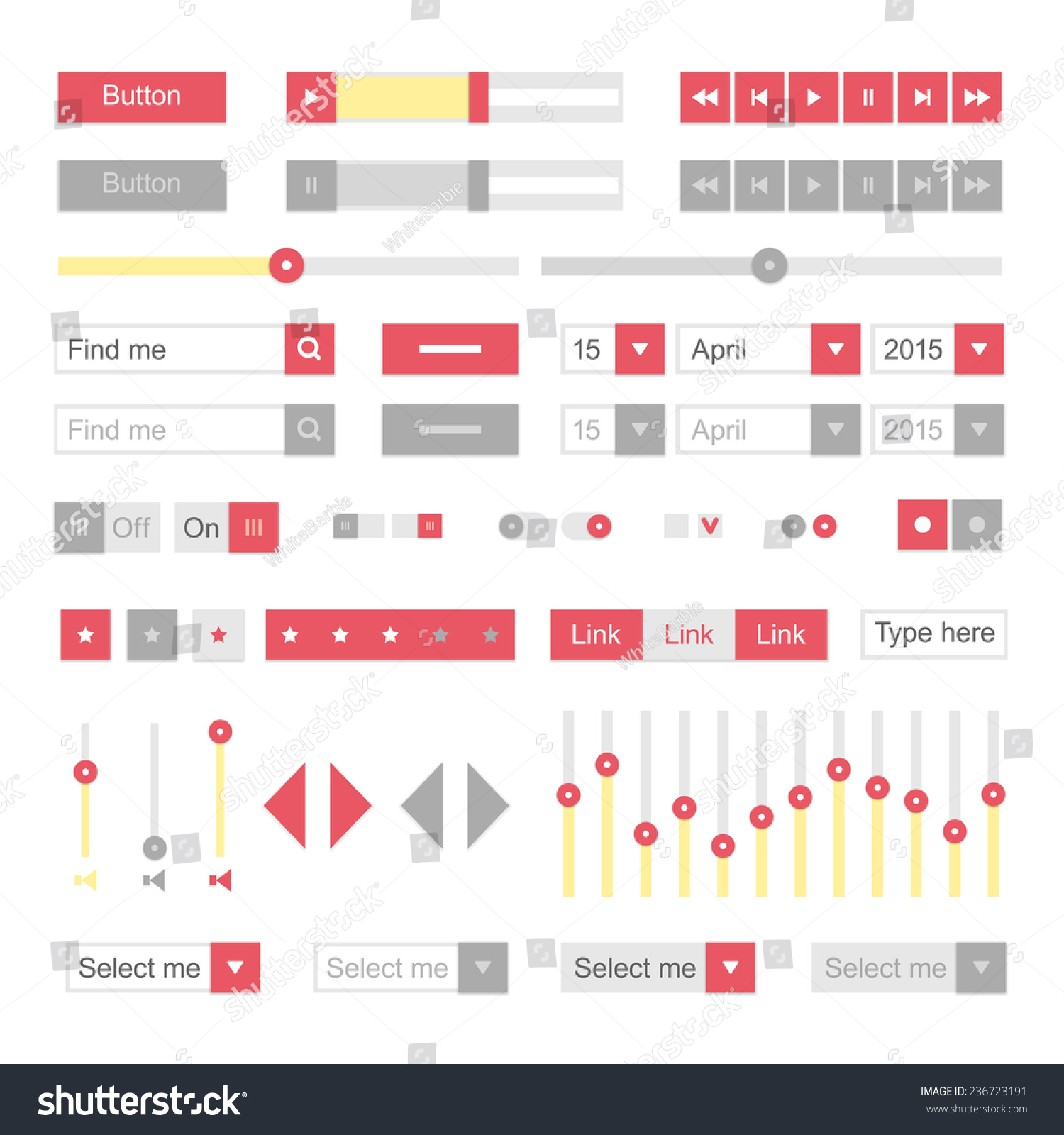 Red Material Design Ui Elements Vector Stock Vector (Royalty