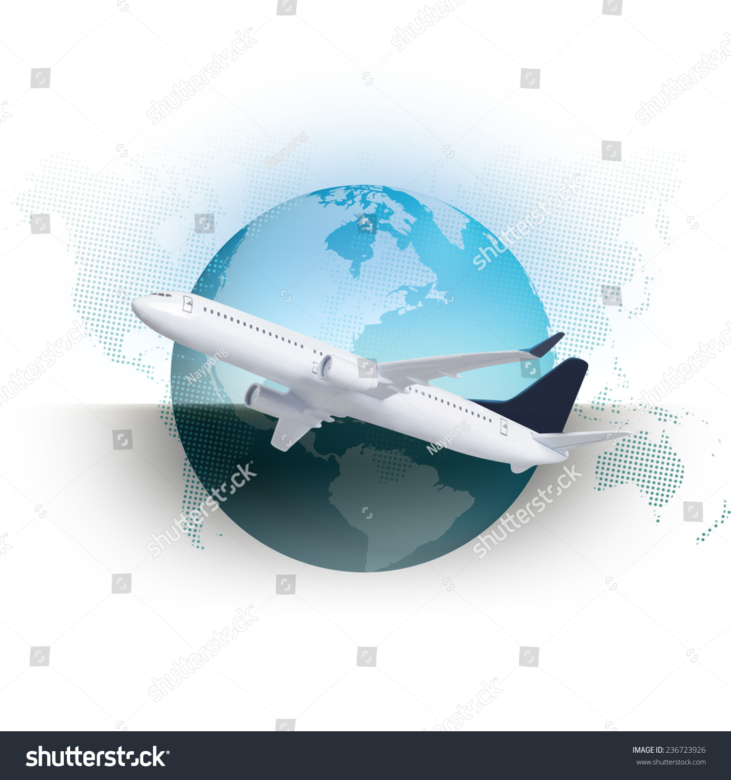Airplane world map globe icon stock photo 236723926 shutterstock airplane with world map and globe icon gumiabroncs Gallery