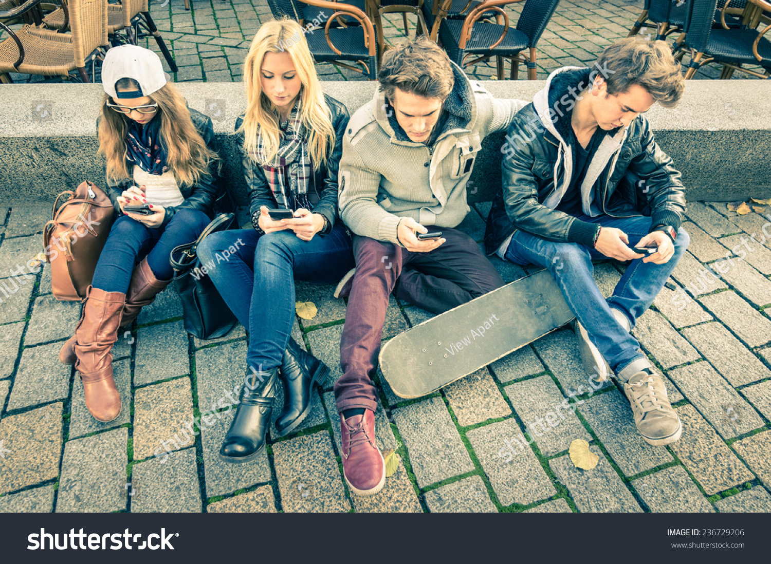 Group Young Hipster Friends Using Smart Stock Photo ...