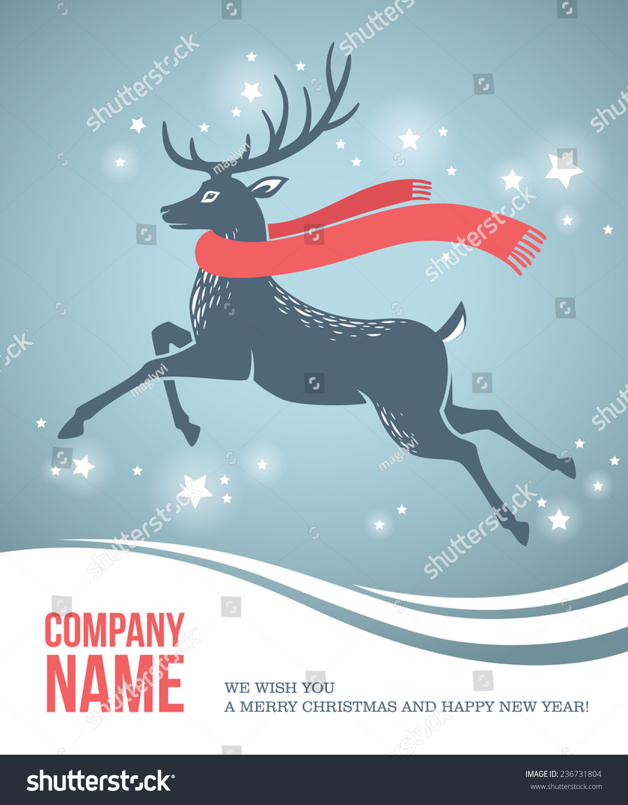 Corporate Christmas Card Blue Deer Red Stock Vector (Royalty Free ...