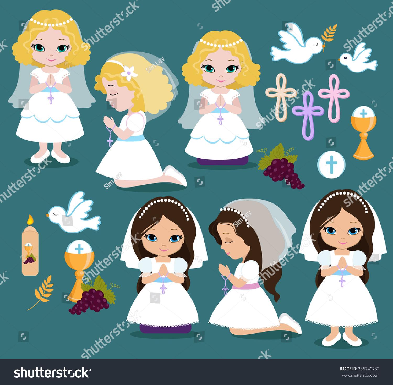 Set Design Elements First Communion Girls Stock Vector 236740732 ... for Communion Girl Clipart  299kxo