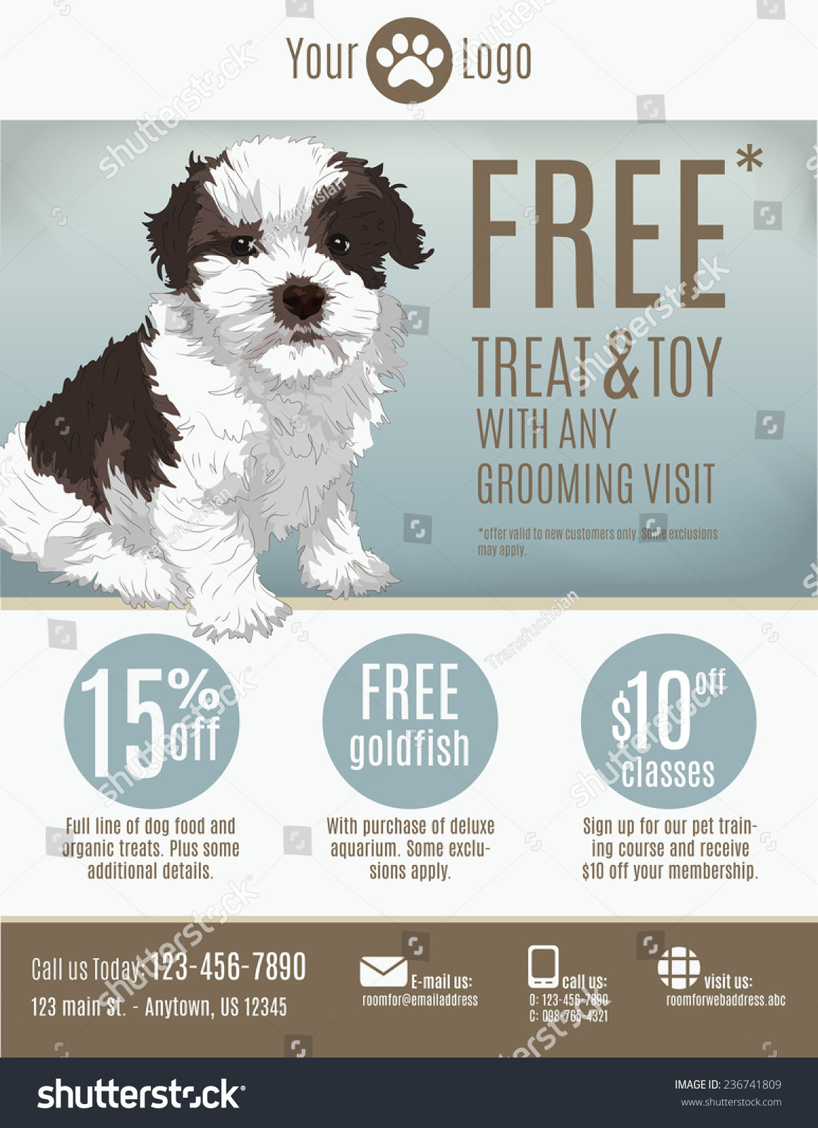 flyer template pet store groomer discount stock vector  flyer template for a pet store or groomer discount coupons and advertisement featuring a cute