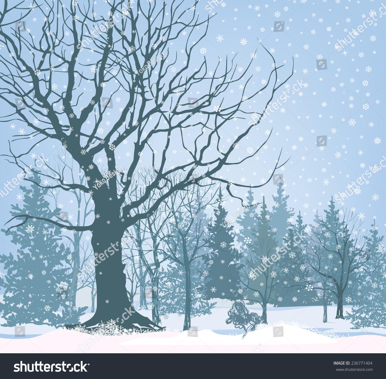 Christmas Snow Landscape Wallpaper Snowy Forest Stock-Vektorgrafik ...