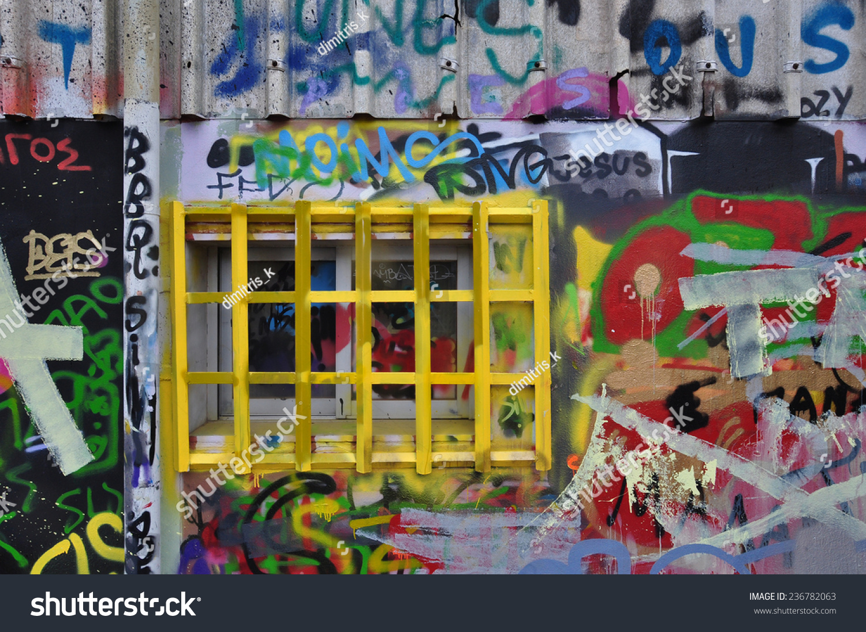 Barred Window Wall Covered Messy Graffiti Stock Photo (Royalty Free ...