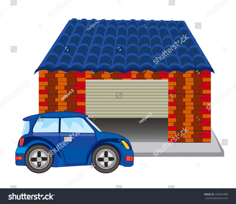 Passenger Car Near Garage From Brick.Garage For Car Stock