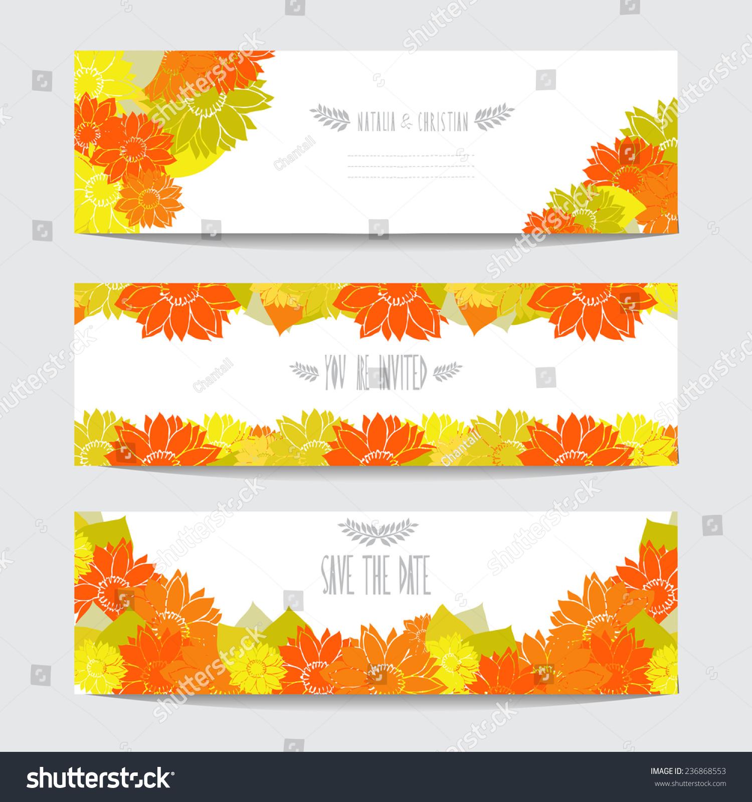 Elegant Cards Decorative Sunflowers Design Elements Stock ...