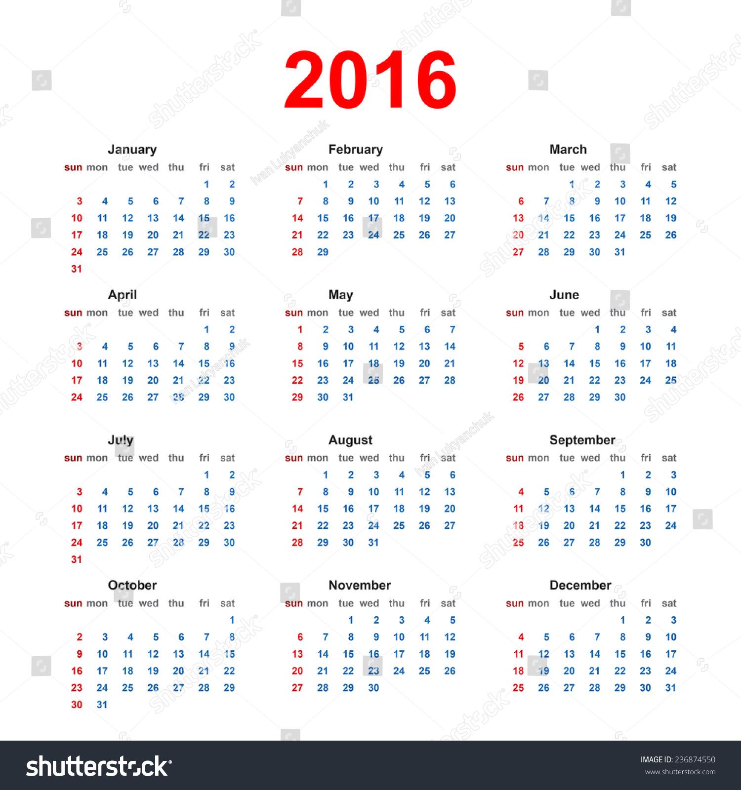 Holiday Calendar Design : Simple usa canadian year blank calendar with holiday