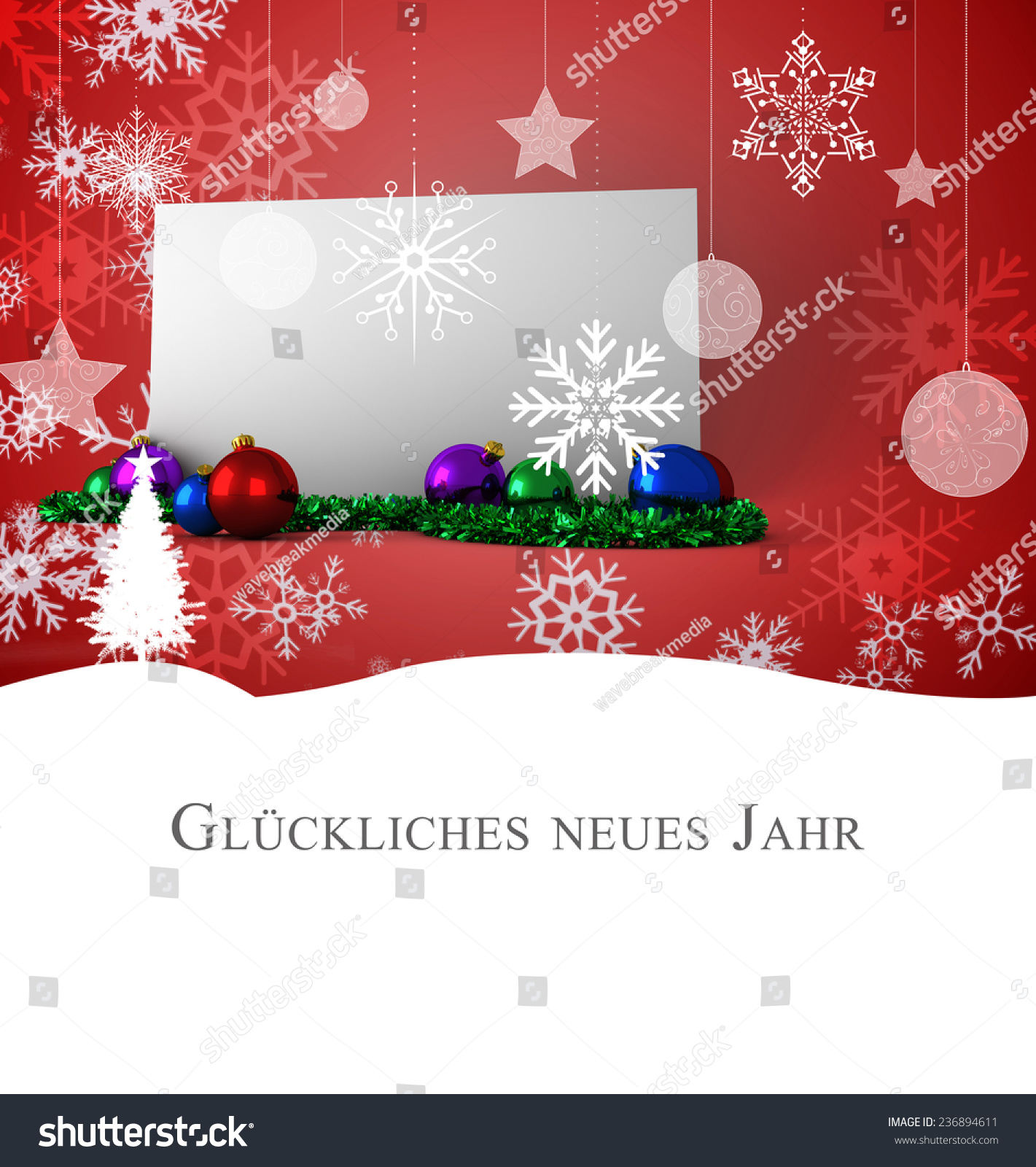 Christmas Greeting German Against Poster Baubles Stock Illustration