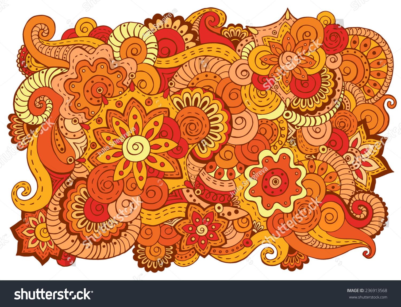 Henna Mehndi Vector : Abstract asian ethnic floral retro doodle stock vector 236913568