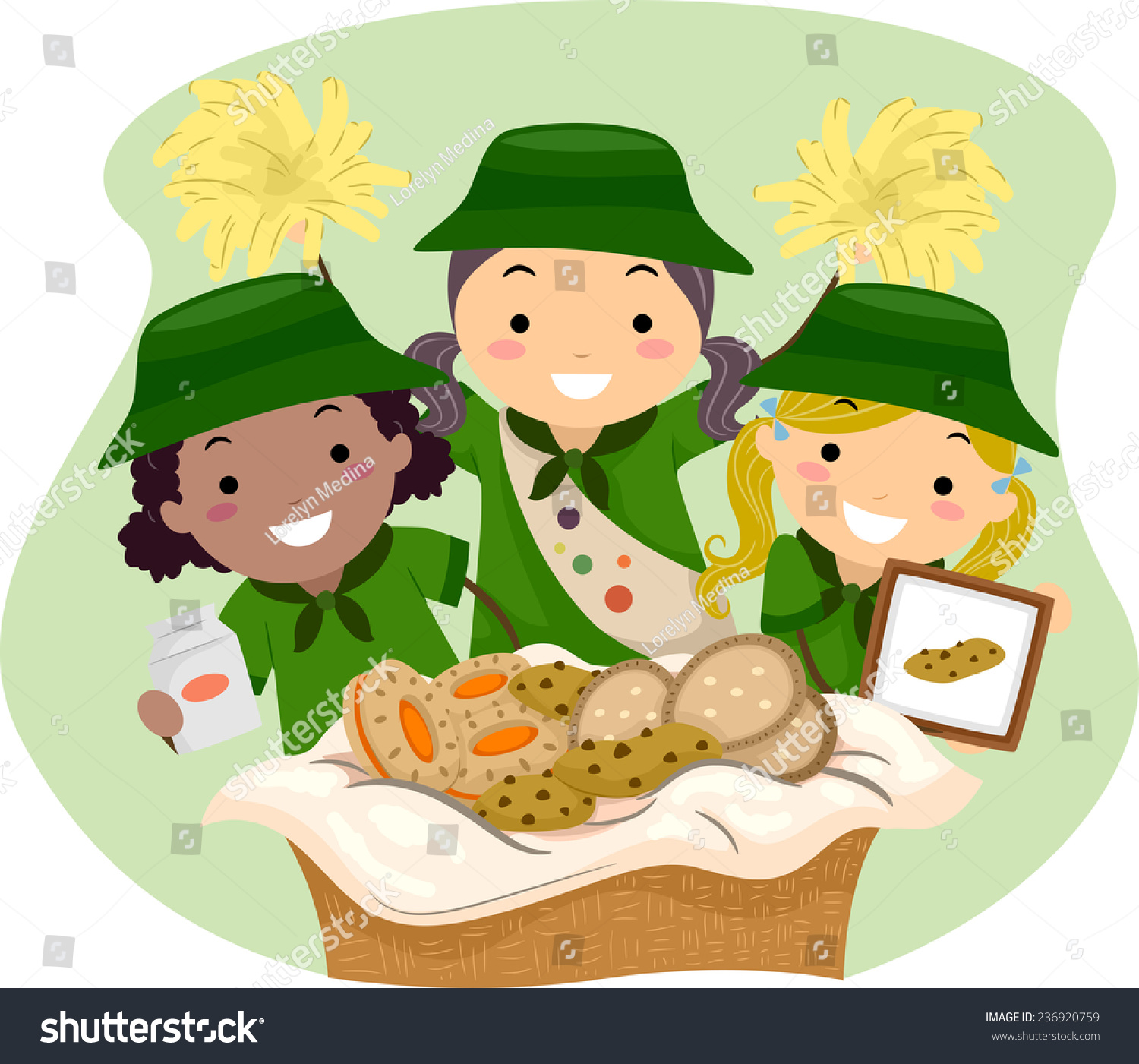 illustration girl scouts selling girl scout stock vector