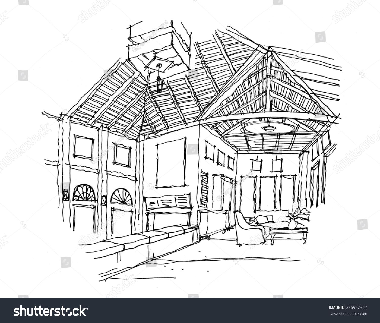 Thailand contemporary architecture interior sketch
