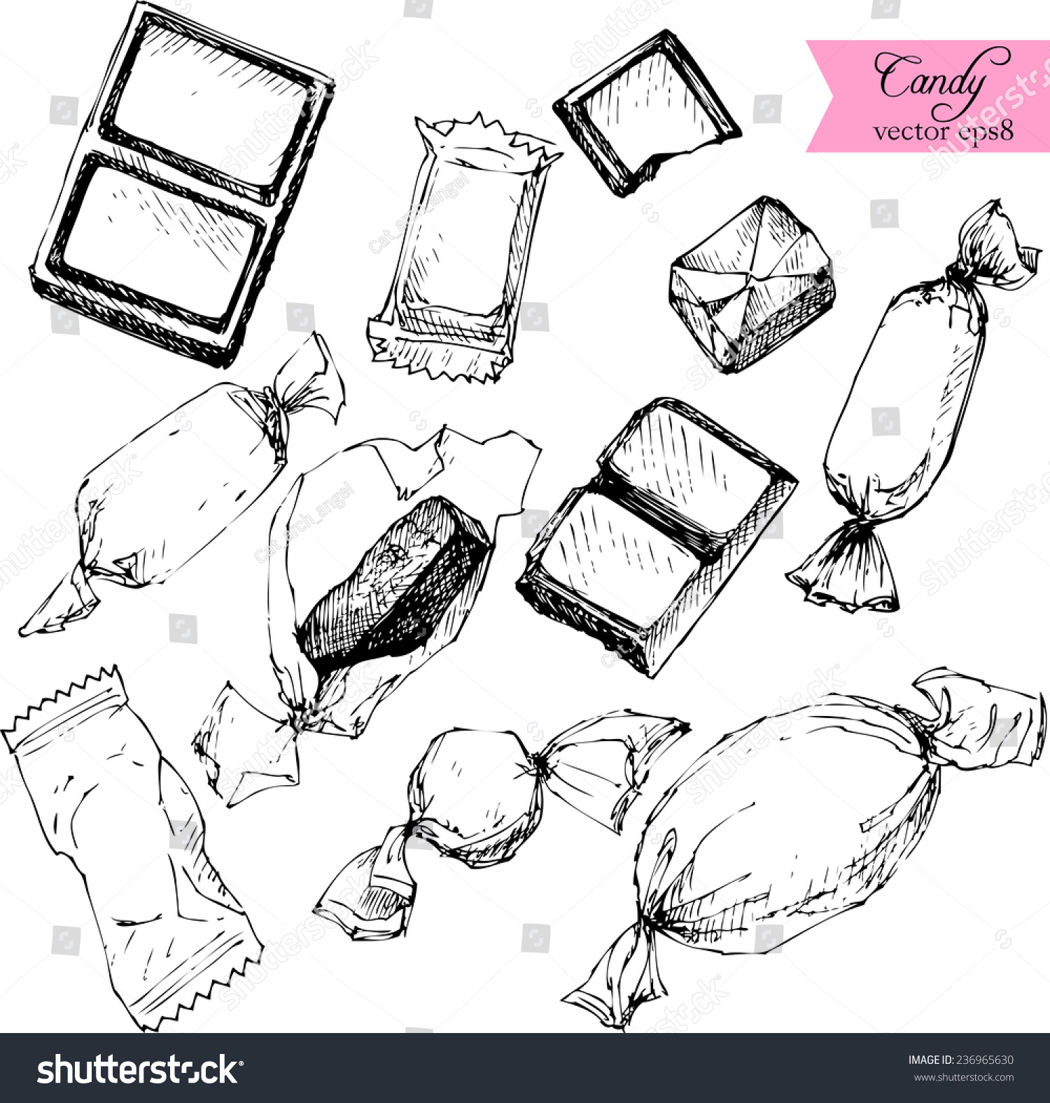 Drawing Lines Between Html Elements : Set line drawing candy sketch white stock vector