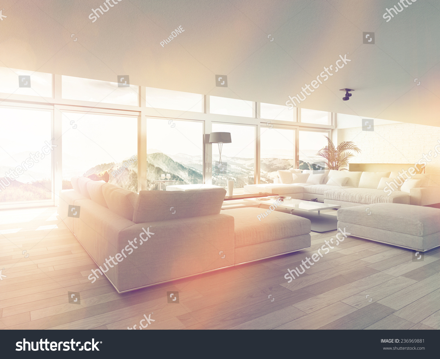 Interior windows architectural - Modern Living Room Area Near Glass Windows Inside Architectural House Illuminated By Sunlight 3d Rendering