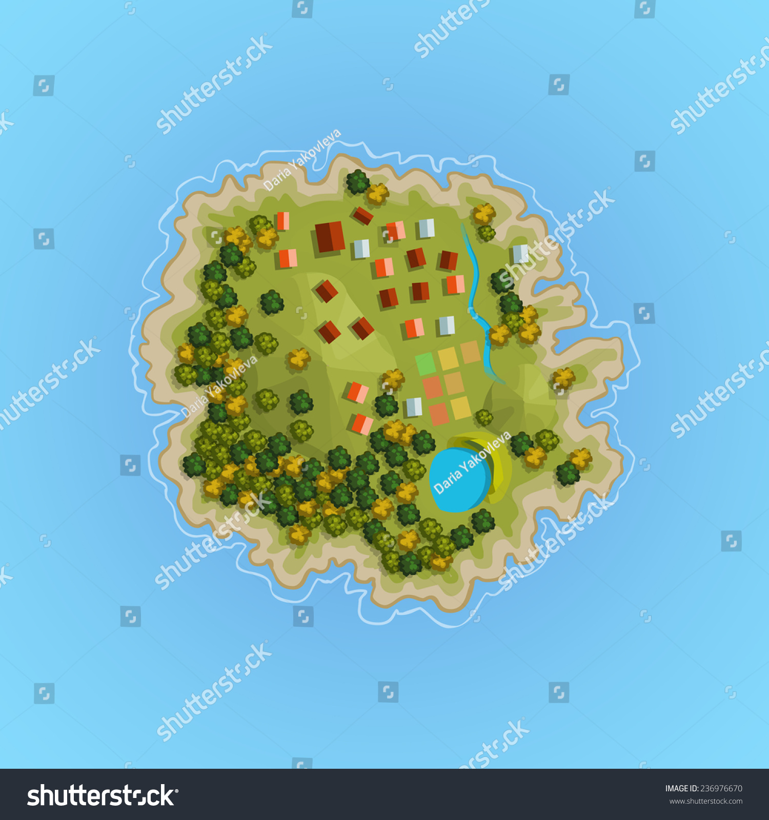 Top View Island Sprite. Vector Game Design For App ... Island Top View Vector