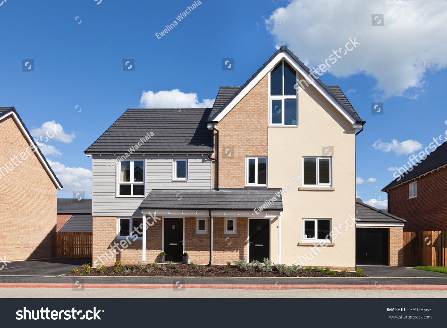 Modern English Semi Detached House With Garage Stock