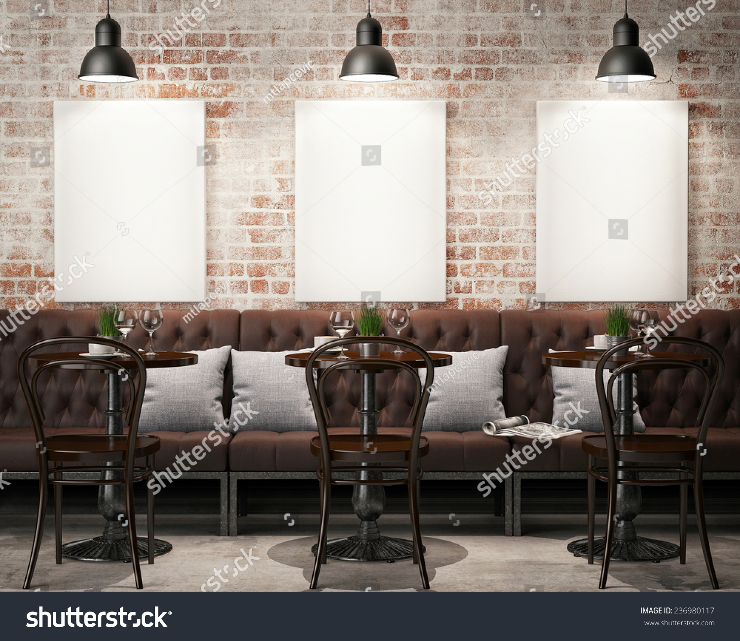 Mock posters retro hipster cafe restaurant stock