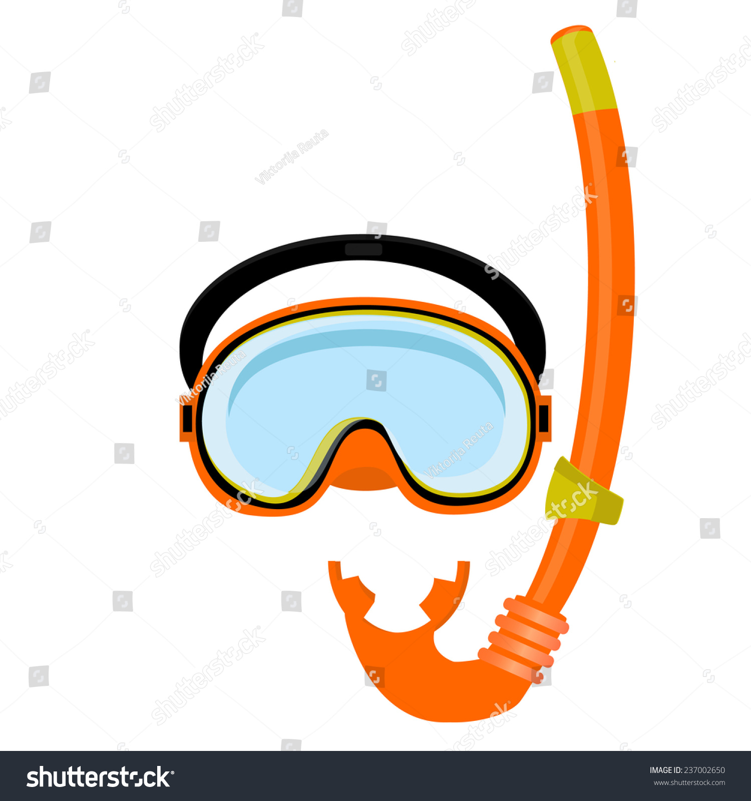 Orange diving mask diving tube swimming stock vector for Dive tube
