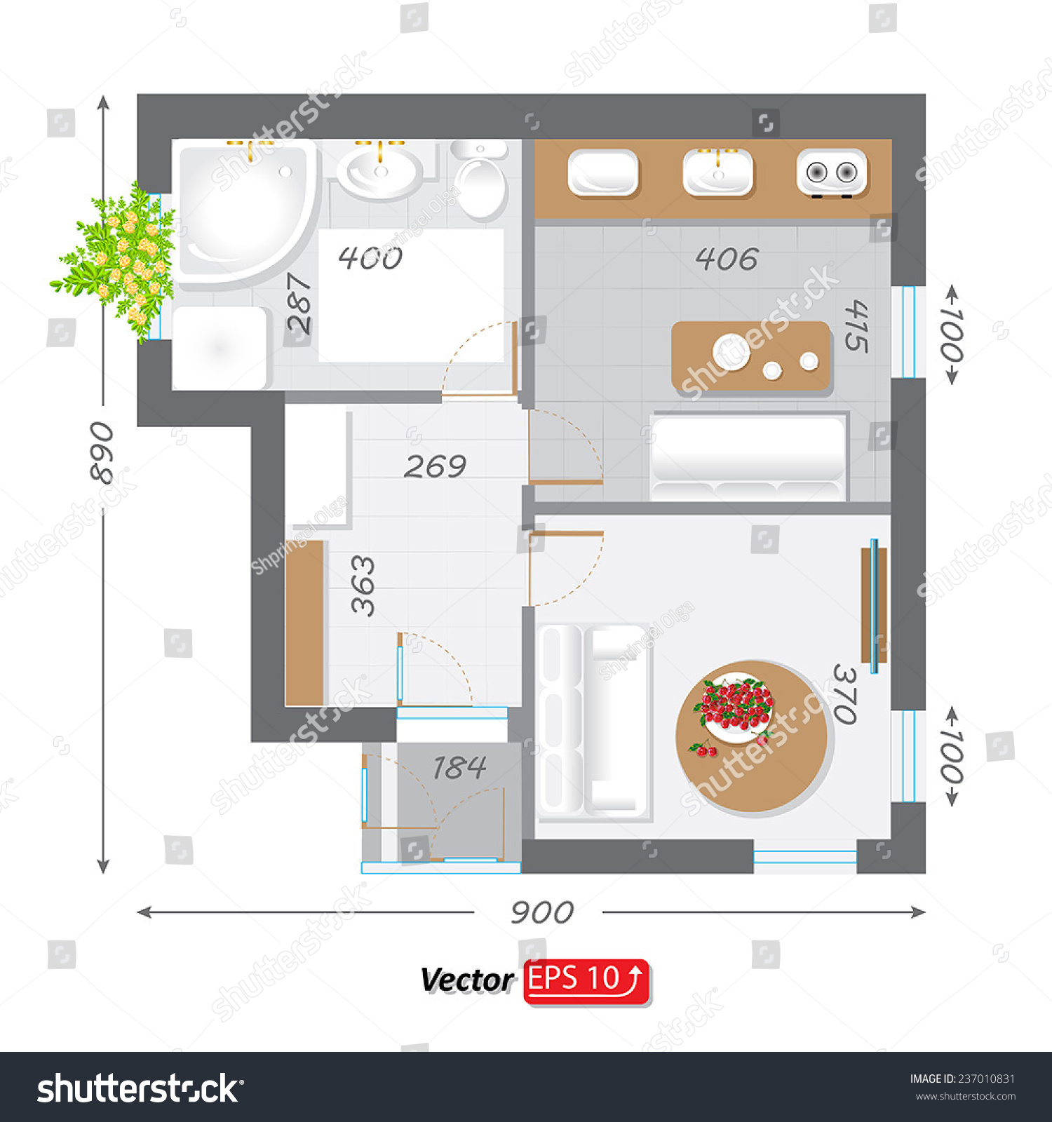 Part architectural project ground floor plan stock vector for Architectural design floor plans