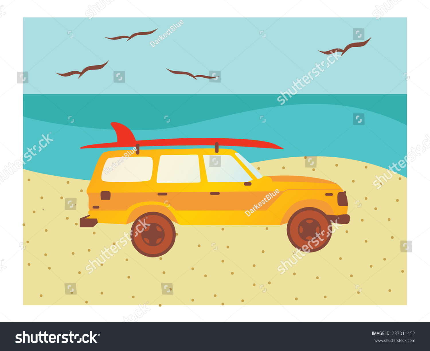 Suv Surfboard Mounted On Roof Stock Vector Shutterstock